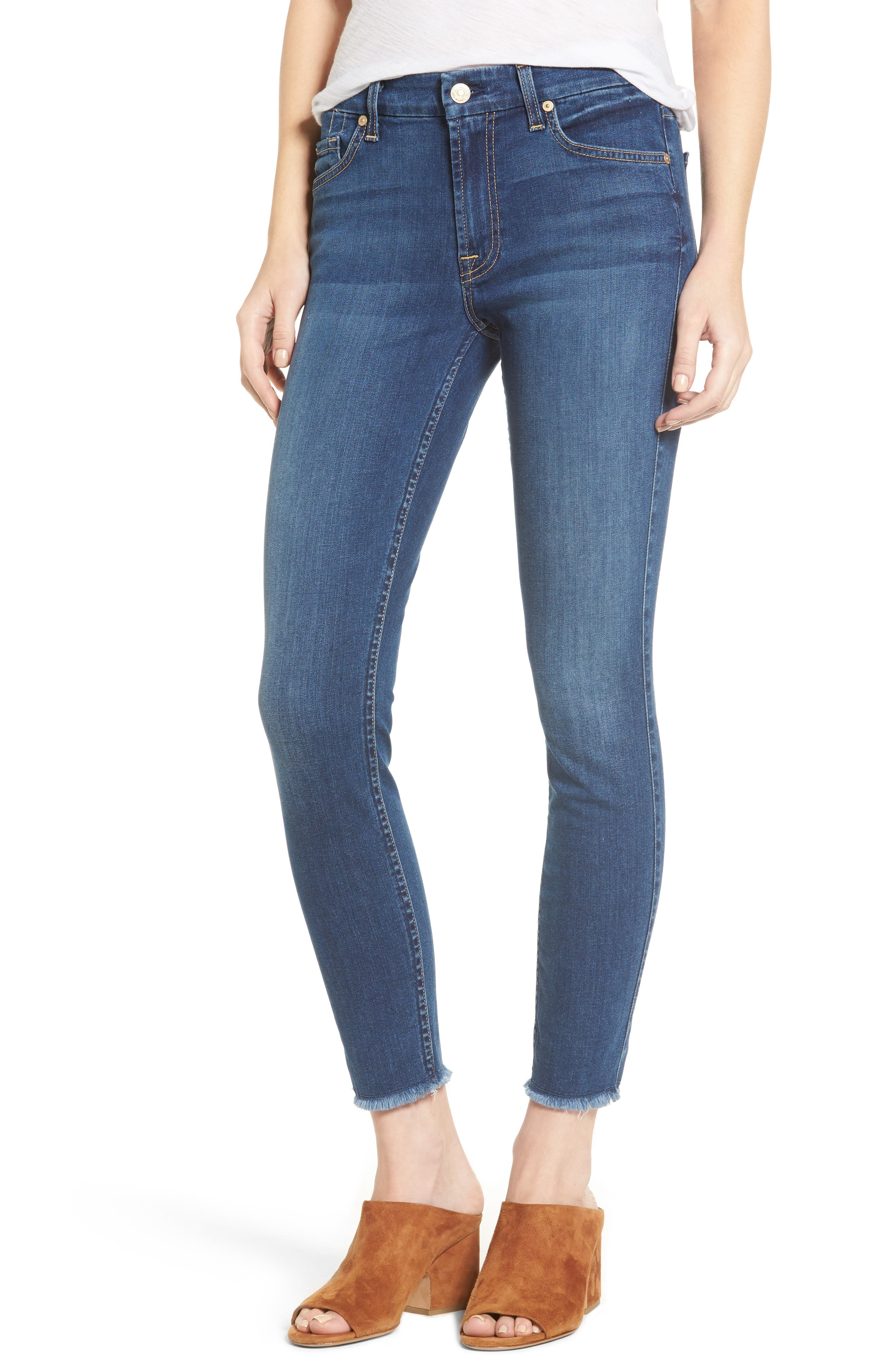7 FOR ALL MANKIND<SUP>®</SUP> b(air) Raw Hem Ankle Skinny Jeans, Main, color, BAIR REIGN