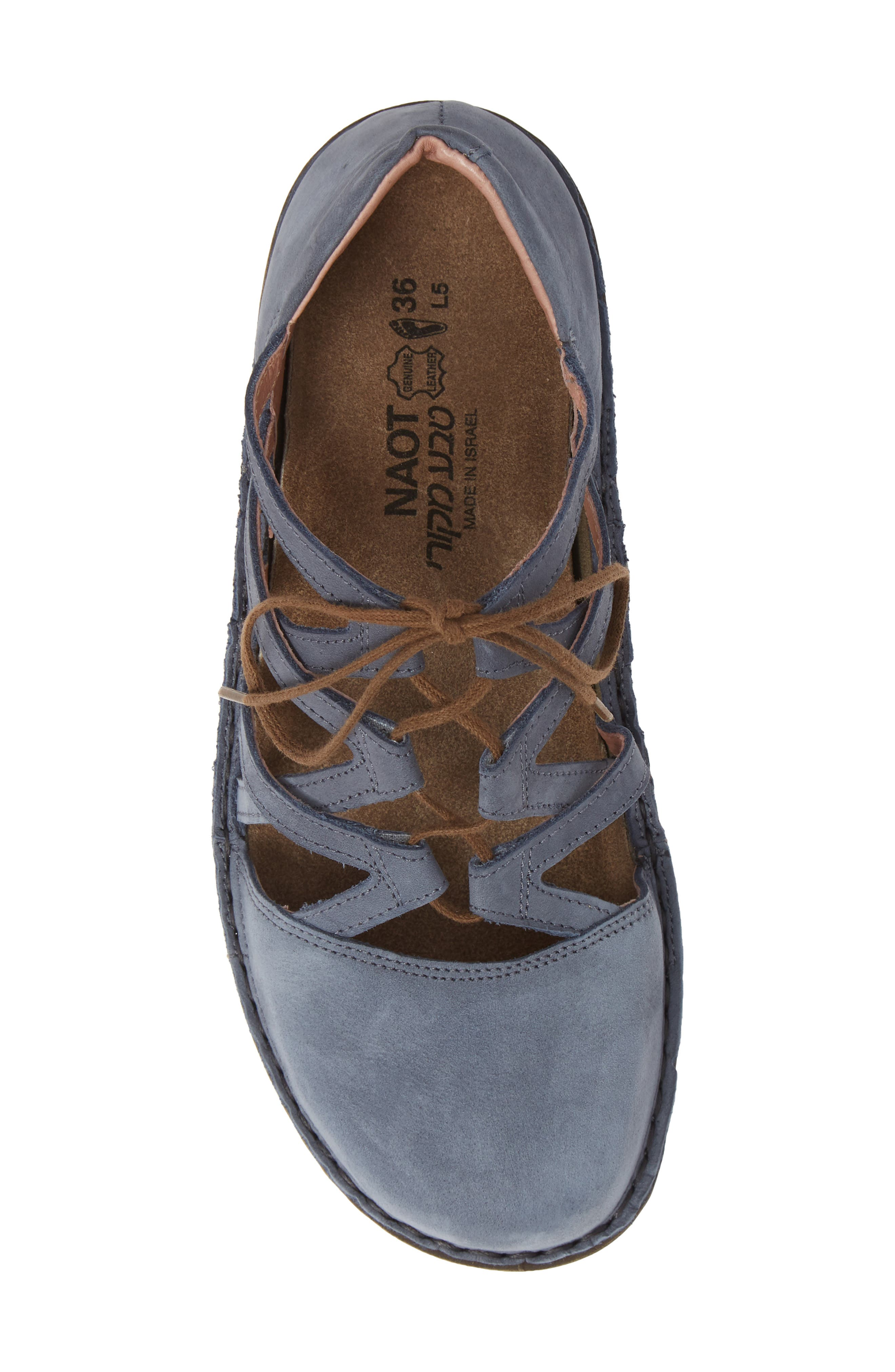 NAOT, Calathea Ghillie Laced Wedge, Alternate thumbnail 5, color, FEATHERY BLUE NUBUCK