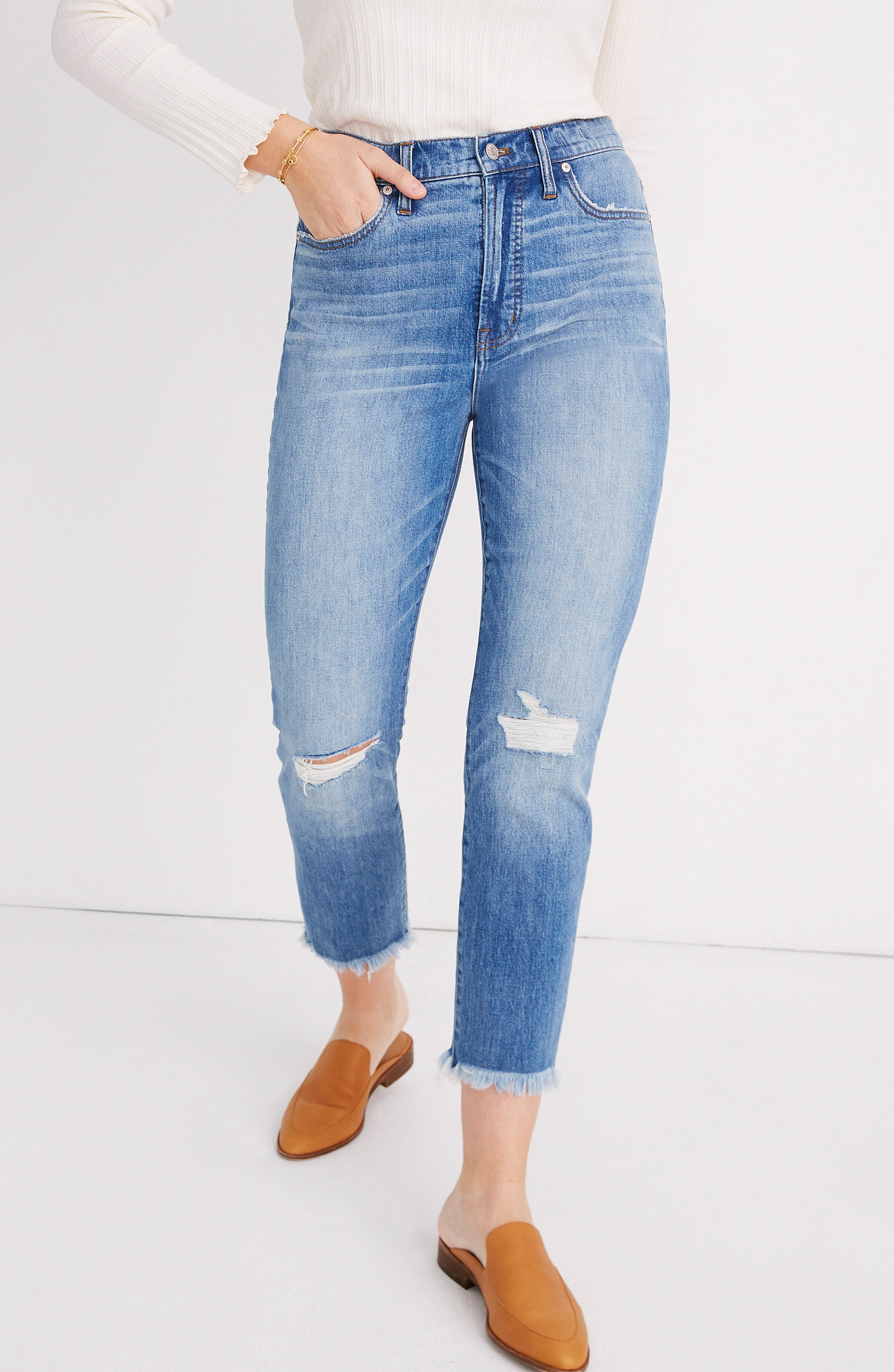 MADEWELL, The Perfect Vintage Crop High Waist Jeans, Alternate thumbnail 13, color, PARNELL WASH