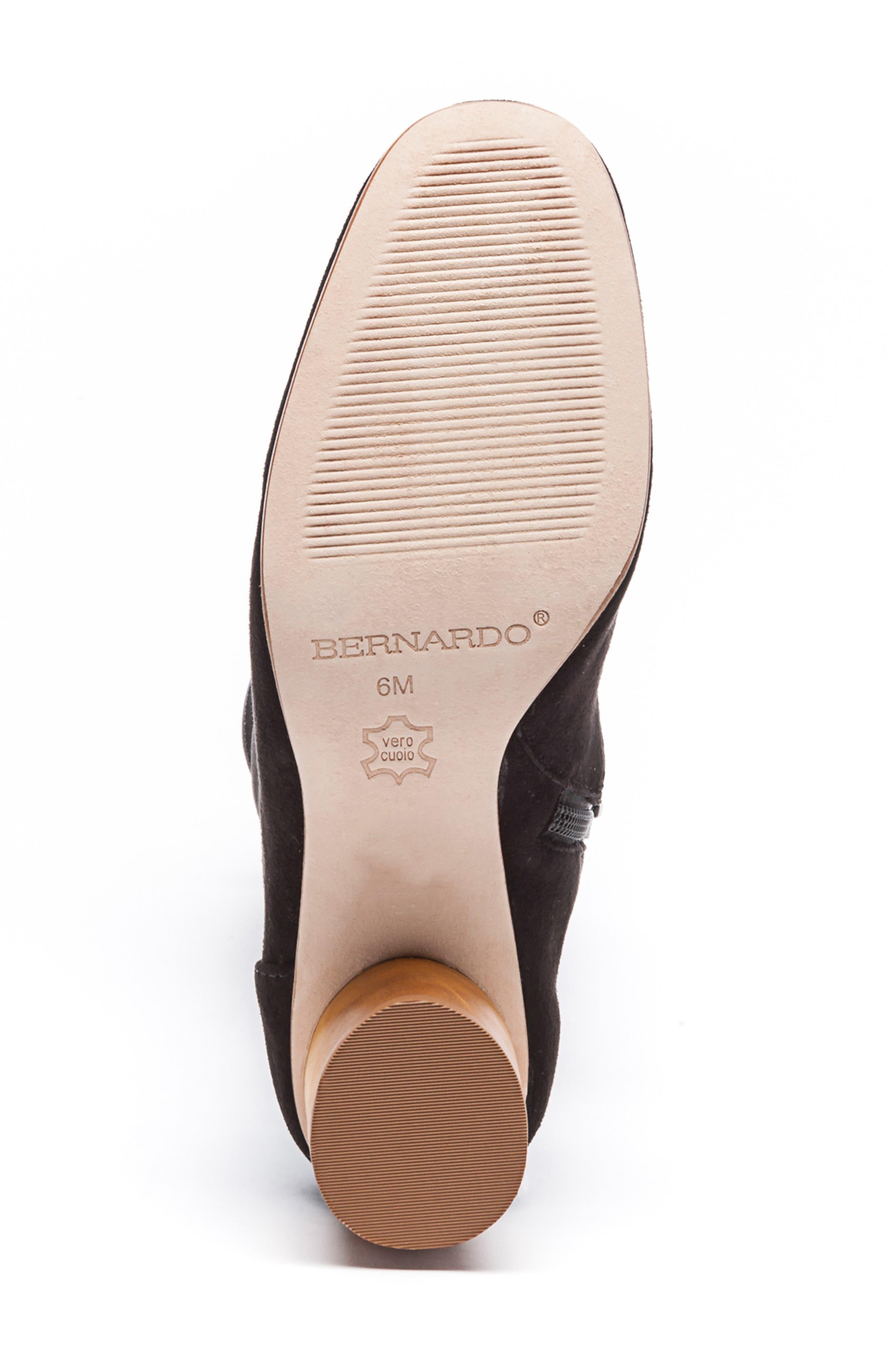 BERNARDO, Knee High Boot, Alternate thumbnail 6, color, BLACK LEATHER