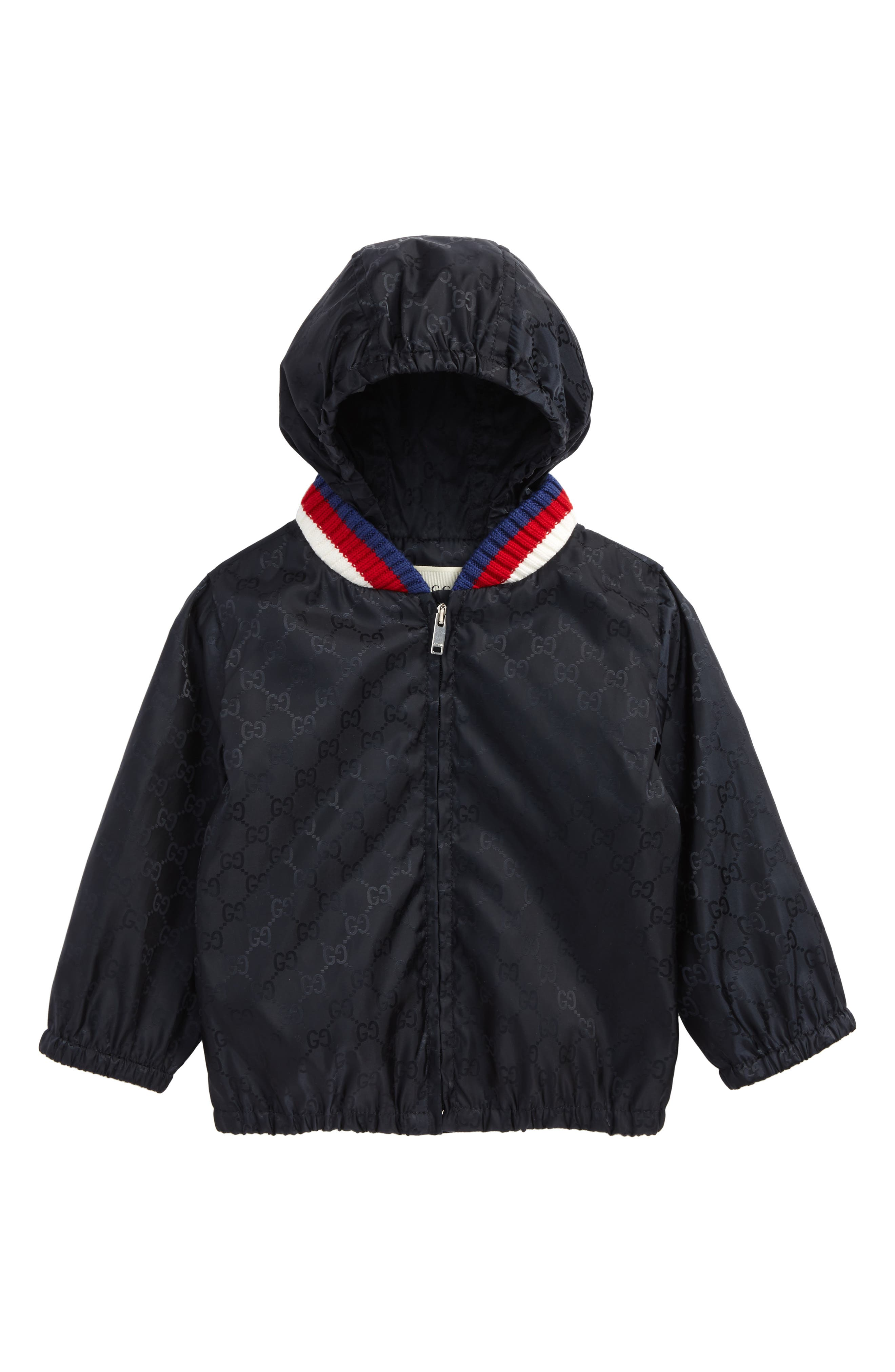 GUCCI, GG Logo Jacquard Hooded Rain Jacket, Main thumbnail 1, color, BLUE MULTI