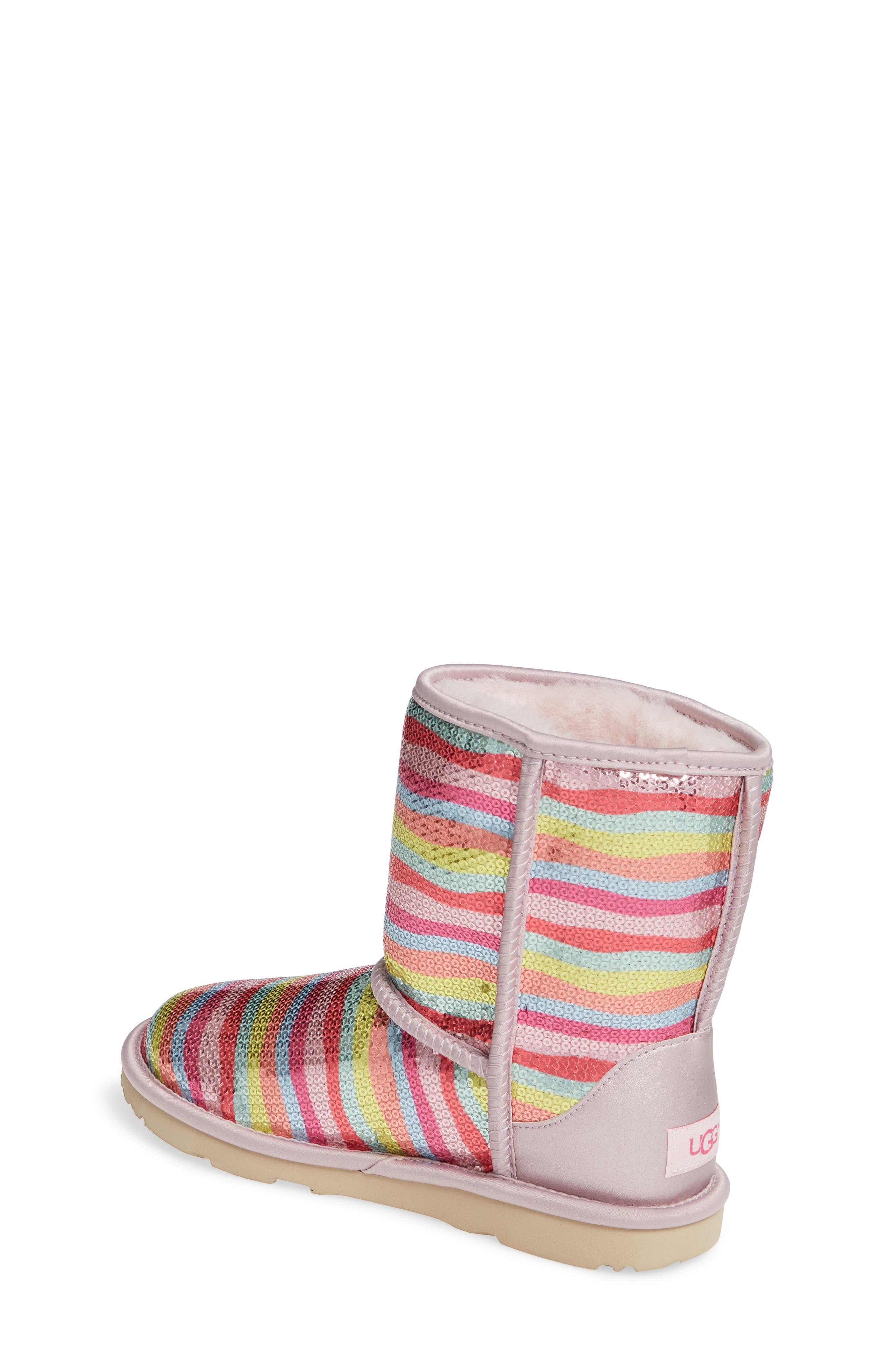 UGG<SUP>®</SUP>, Rainbow Classic Short II Sequin Stripe Boot, Alternate thumbnail 2, color, RAINBOW MULTI