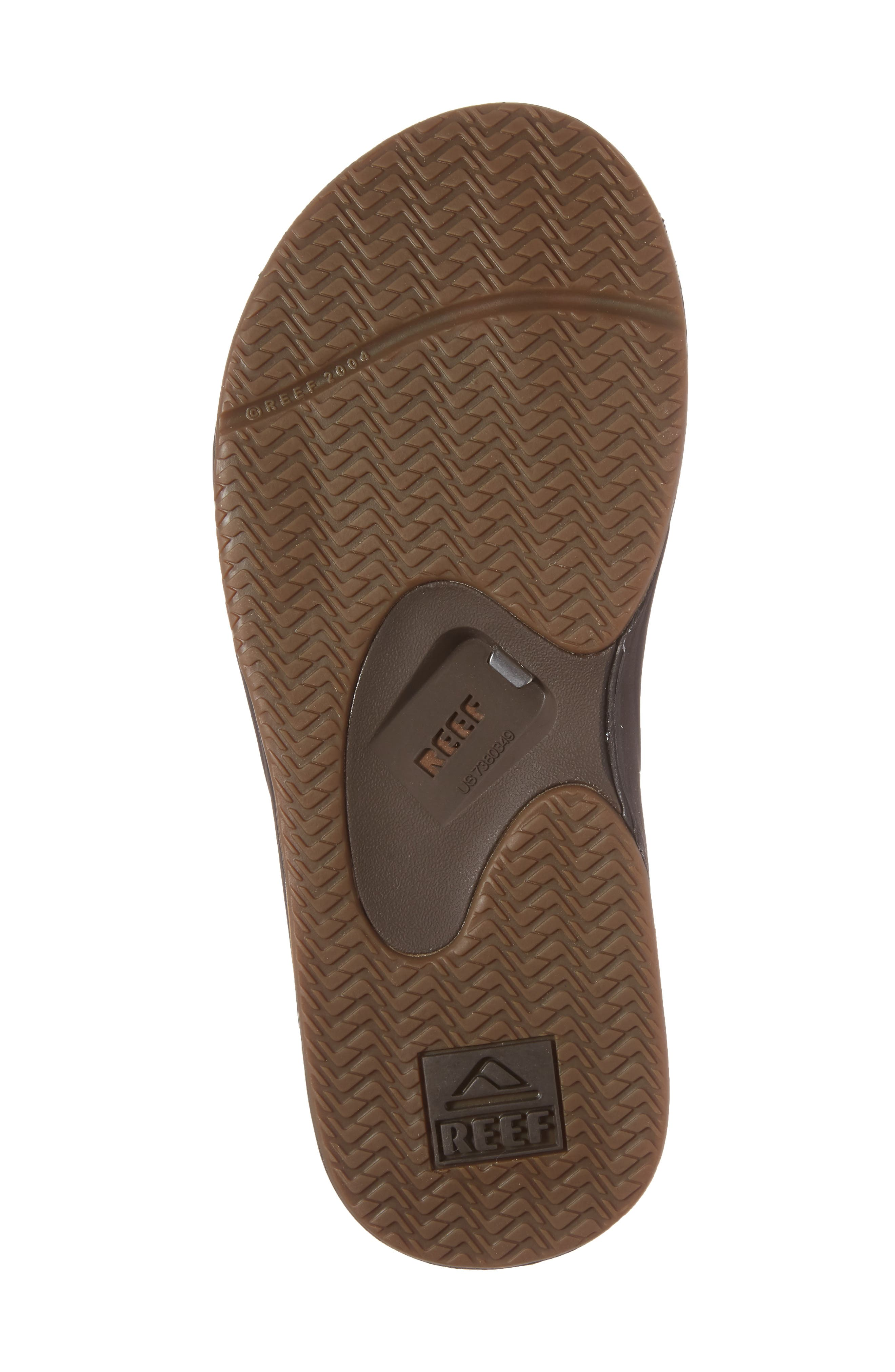 REEF, 'Fanning Leather' Flip Flop, Alternate thumbnail 6, color, BROWN LEATHER