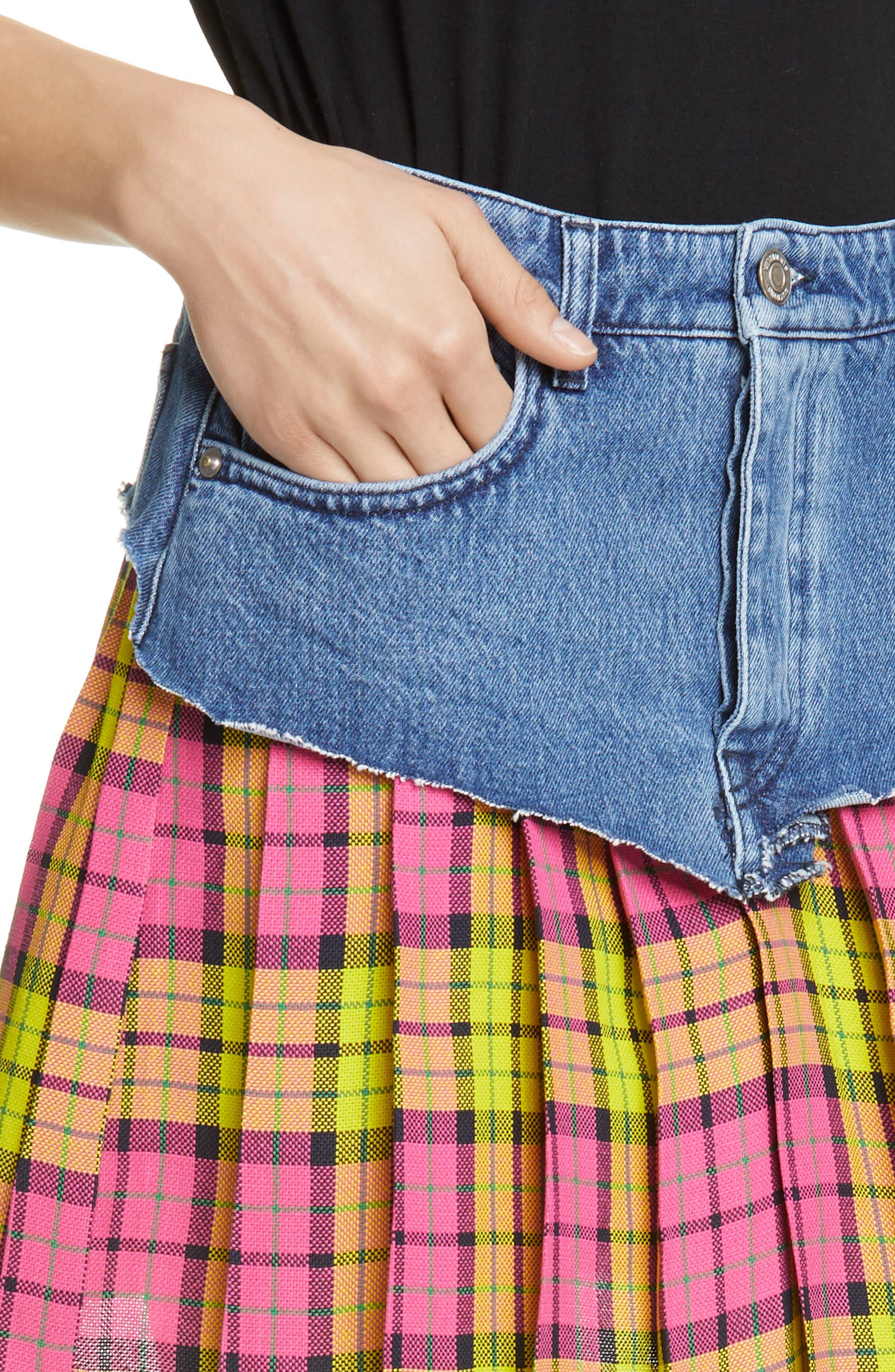 VETEMENTS, Schoolgirl Skirt, Alternate thumbnail 4, color, BLUE