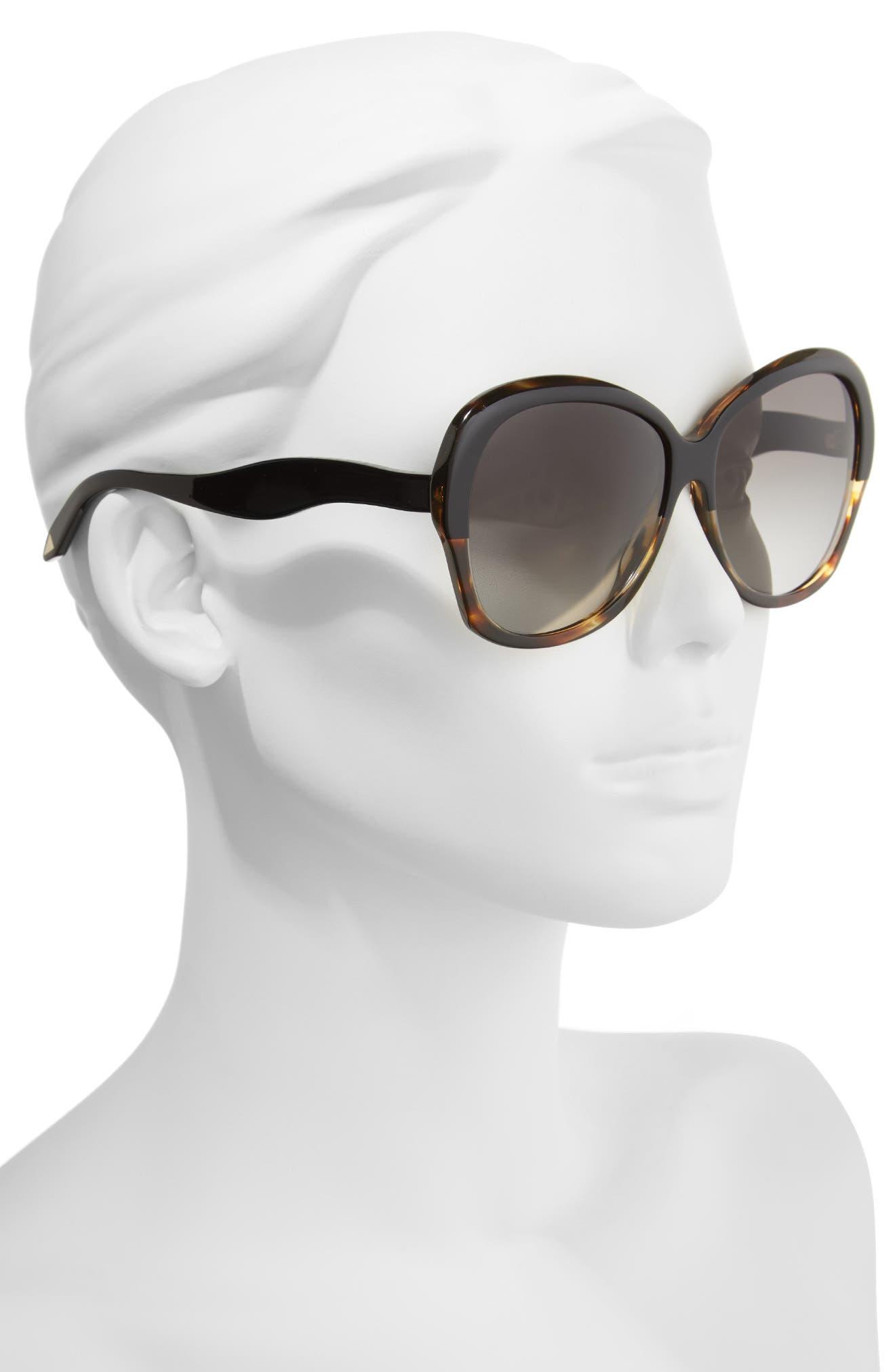 VICTORIA BECKHAM, Happy 60mm Butterfly Sunglasses, Alternate thumbnail 2, color, BLACK/ TORTOISE GRAD