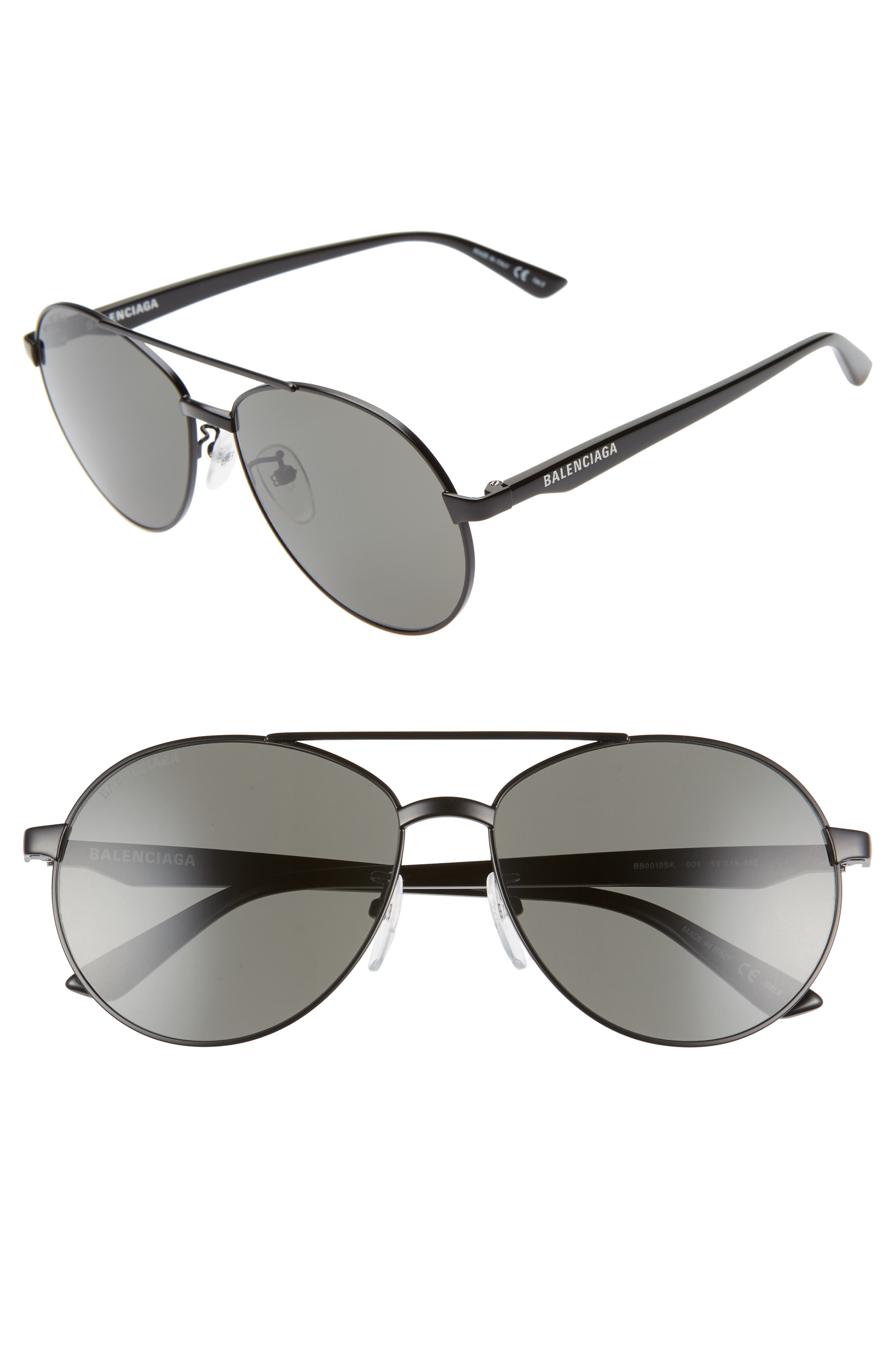 BALENCIAGA, 59mm Aviator Sunglasses, Main thumbnail 1, color, SEMI-MATTE BLACK/ GREY