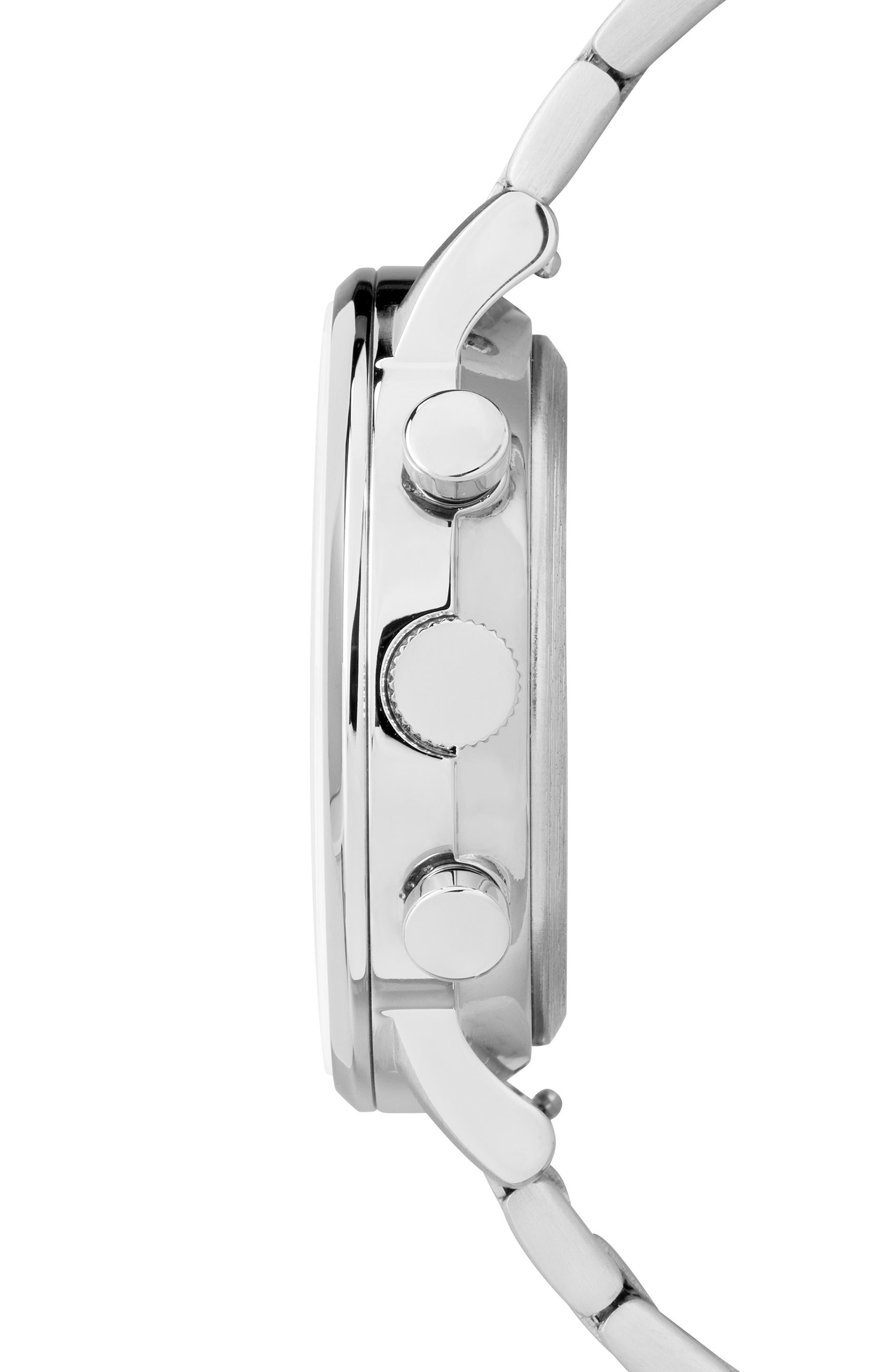 TIMEX<SUP>®</SUP>, Waterbury Chronograph Bracelet Watch, 40mm, Alternate thumbnail 3, color, SILVER/ BLACK/ SILVER