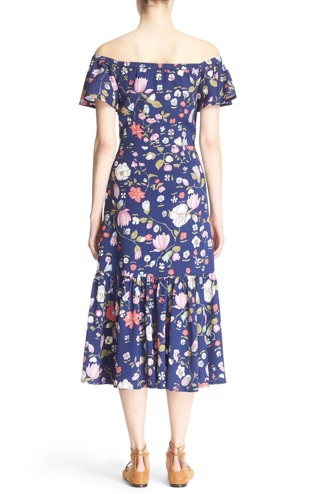REBECCA TAYLOR, Off the Shoulder Floral Print Dress, Alternate thumbnail 2, color, 510