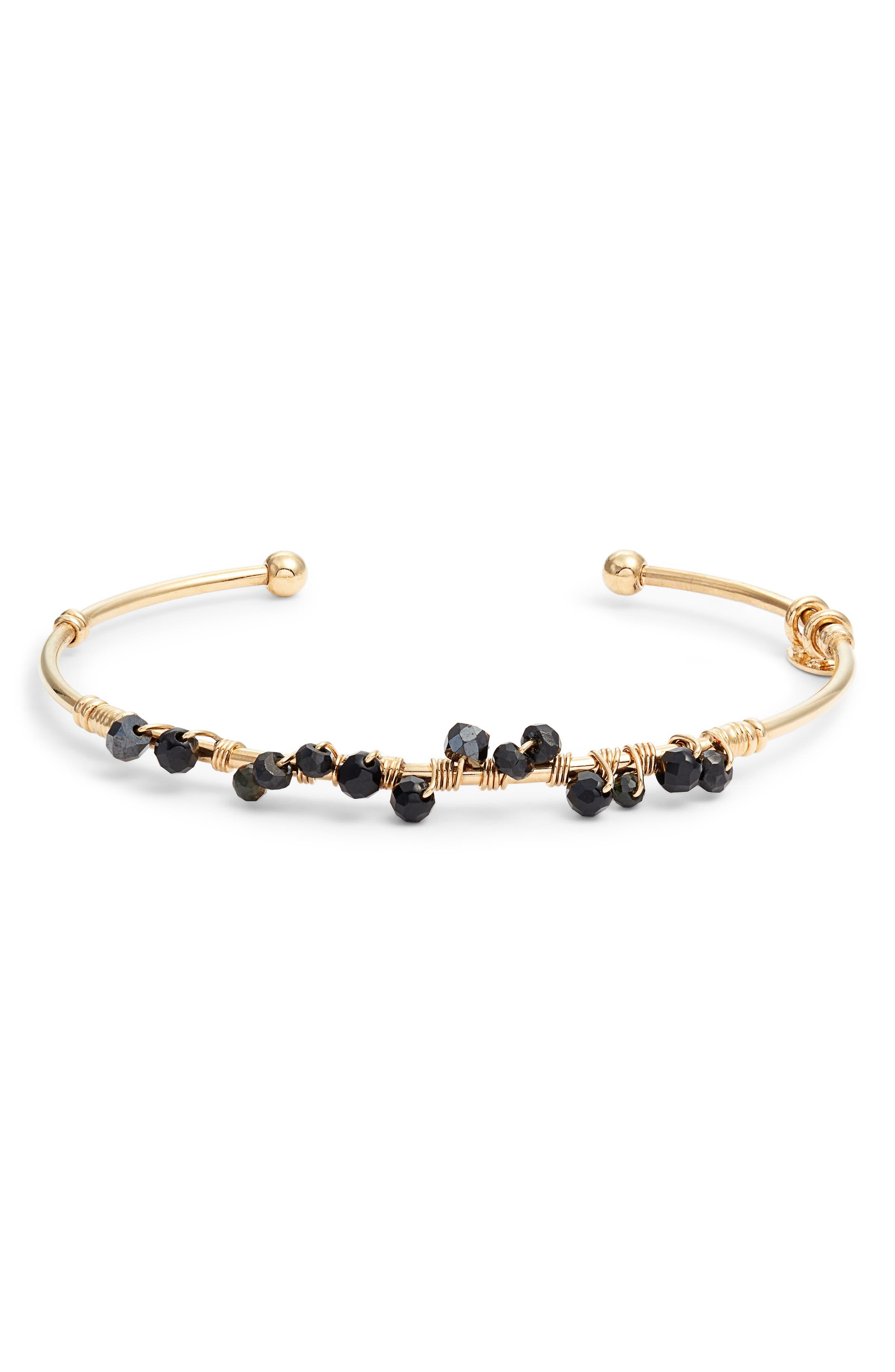 GAS BIJOUX Calliope Cuff Bracelet, Main, color, BLACK