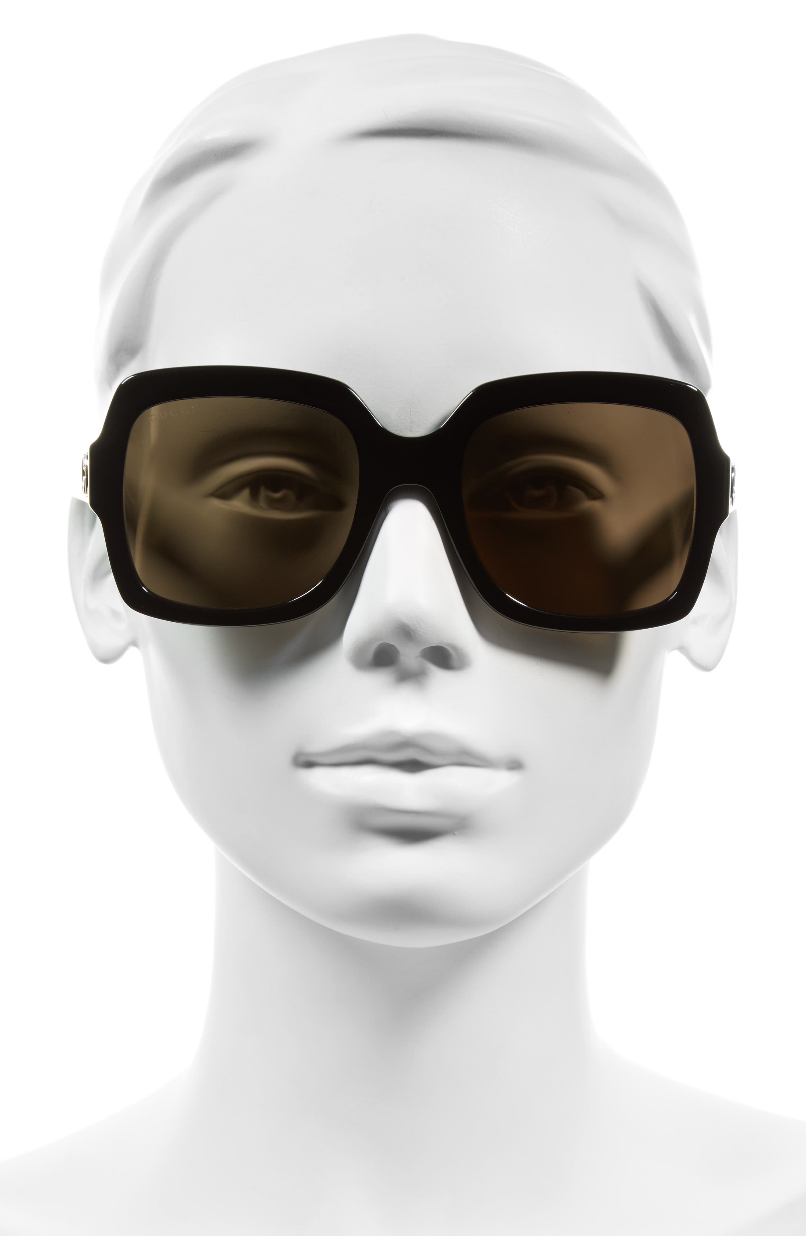 GUCCI, 54mm Square Sunglasses, Alternate thumbnail 2, color, BLACK/ BROWN
