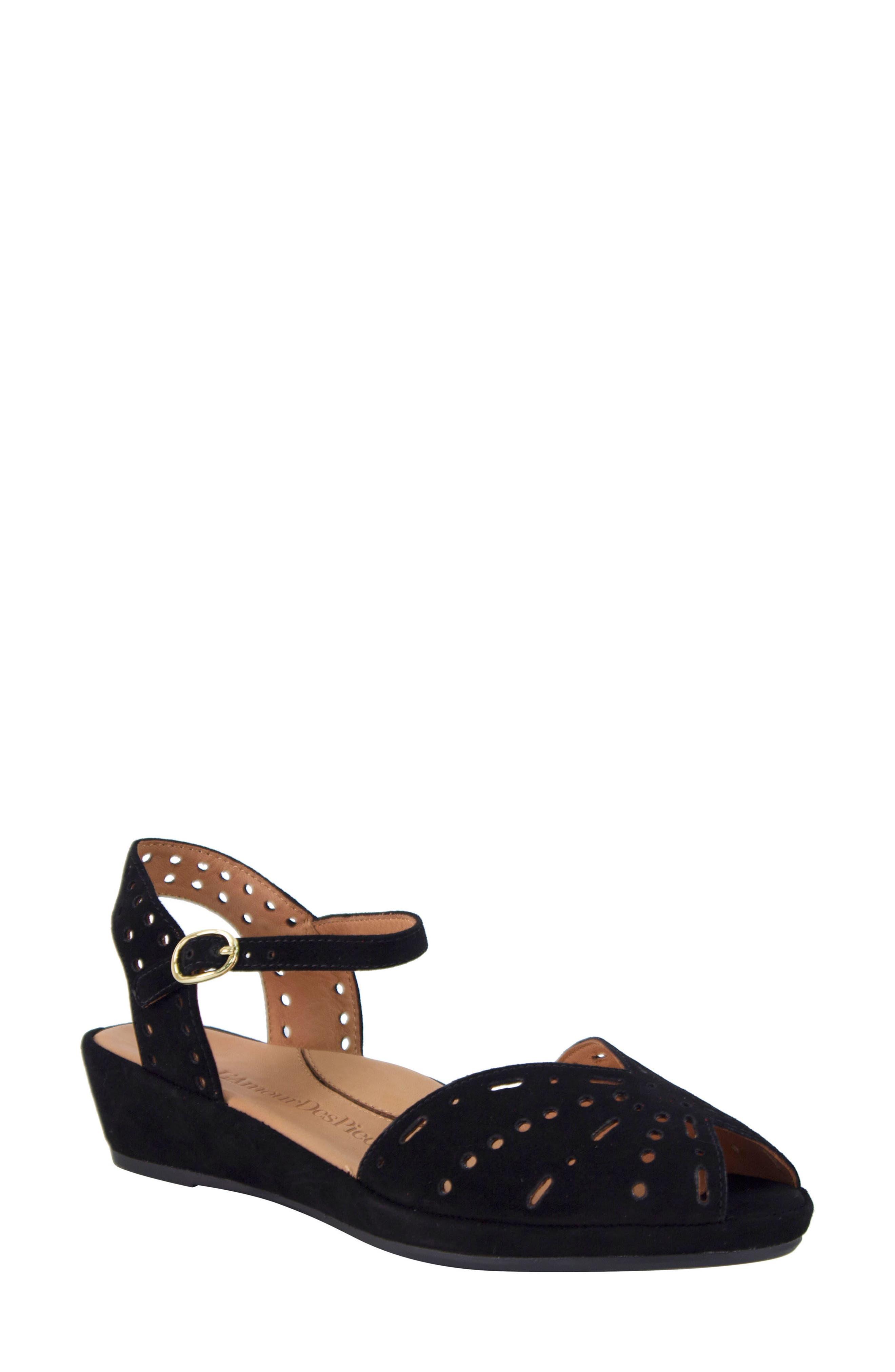 L'AMOUR DES PIEDS 'Brenn' Ankle Strap Sandal, Main, color, BLACK SUEDE