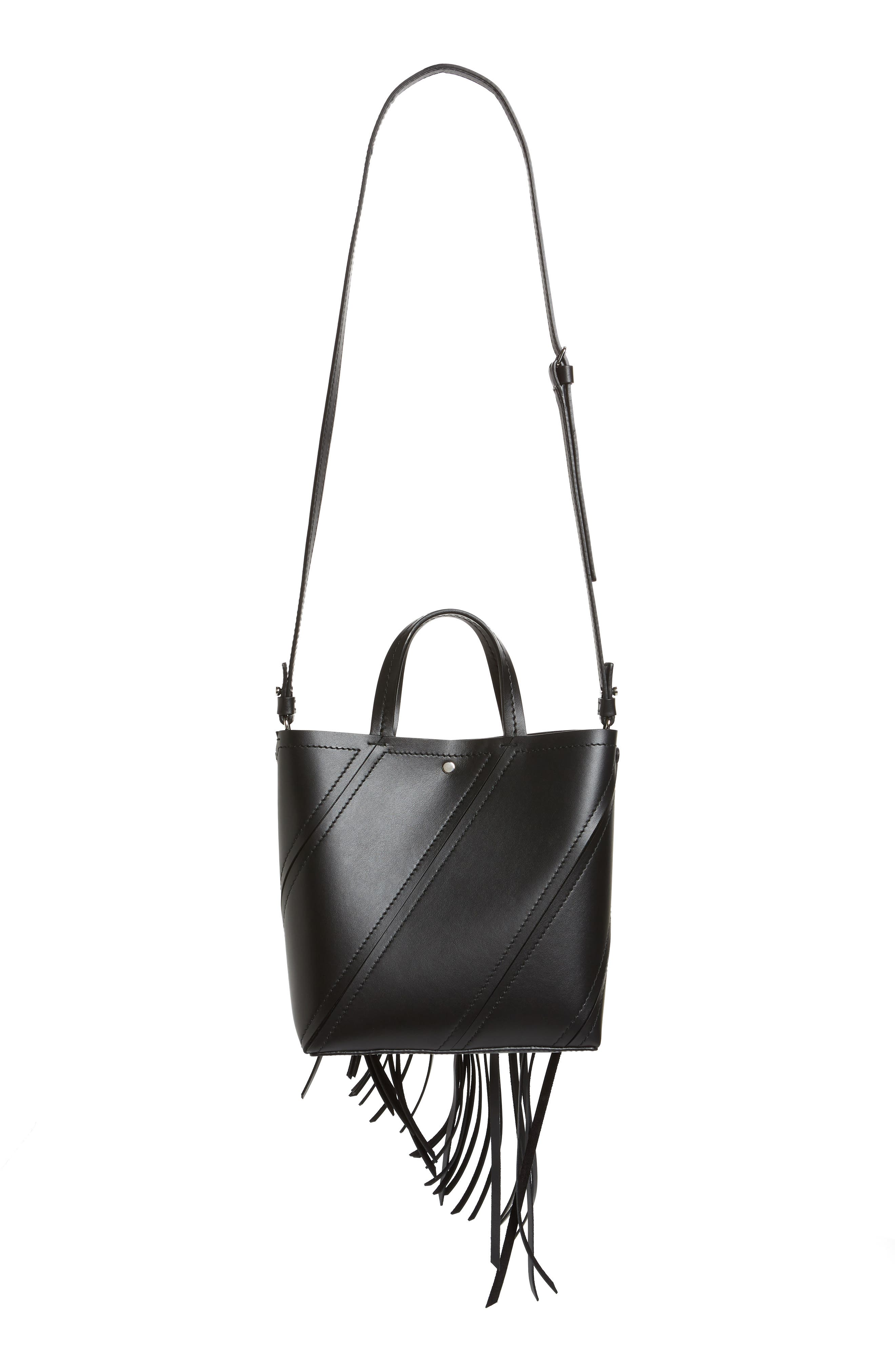 PROENZA SCHOULER, Proenza Schoulder Small Hex Calfskin Leather Tote, Alternate thumbnail 4, color, BLACK/ BLACK