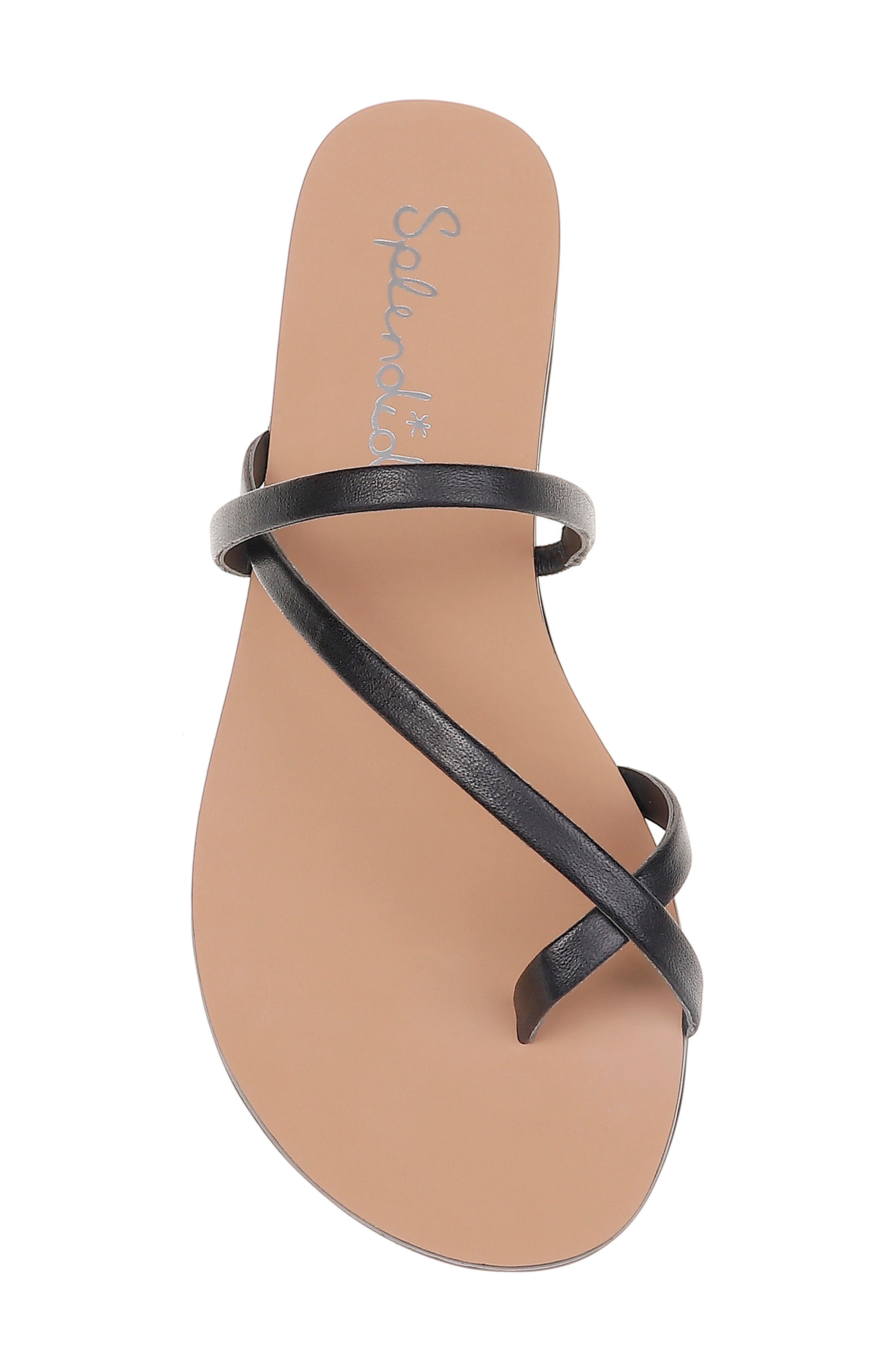 SPLENDID, Trenton Strappy Slide Sandal, Alternate thumbnail 5, color, BLACK LEATHER
