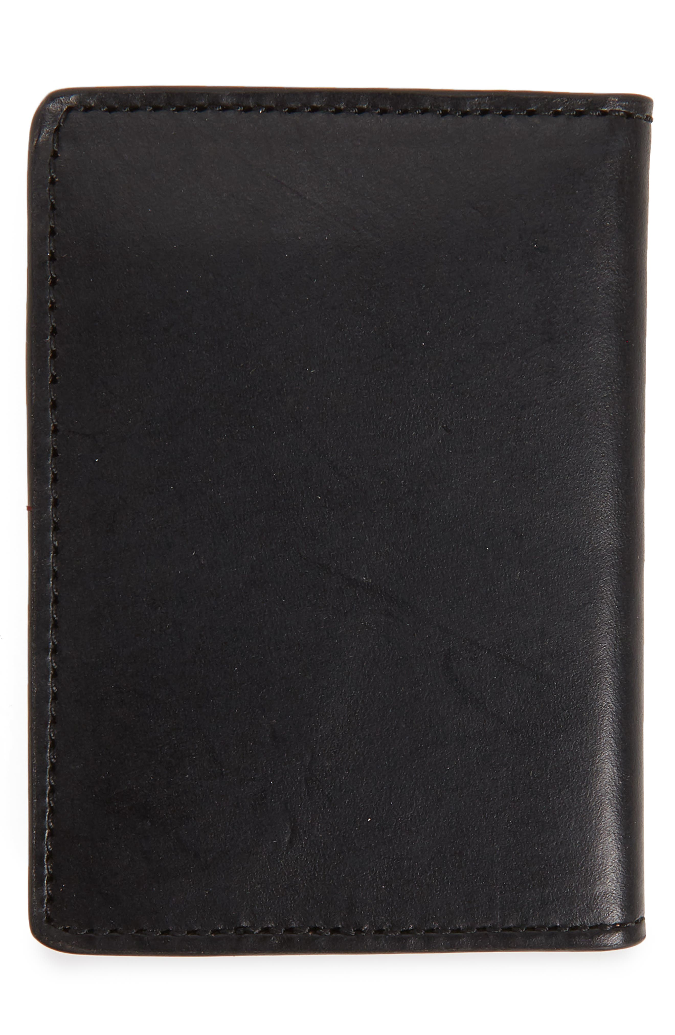 NORDSTROM MEN'S SHOP, Darien Leather Bifold Card Case, Alternate thumbnail 3, color, BLACK