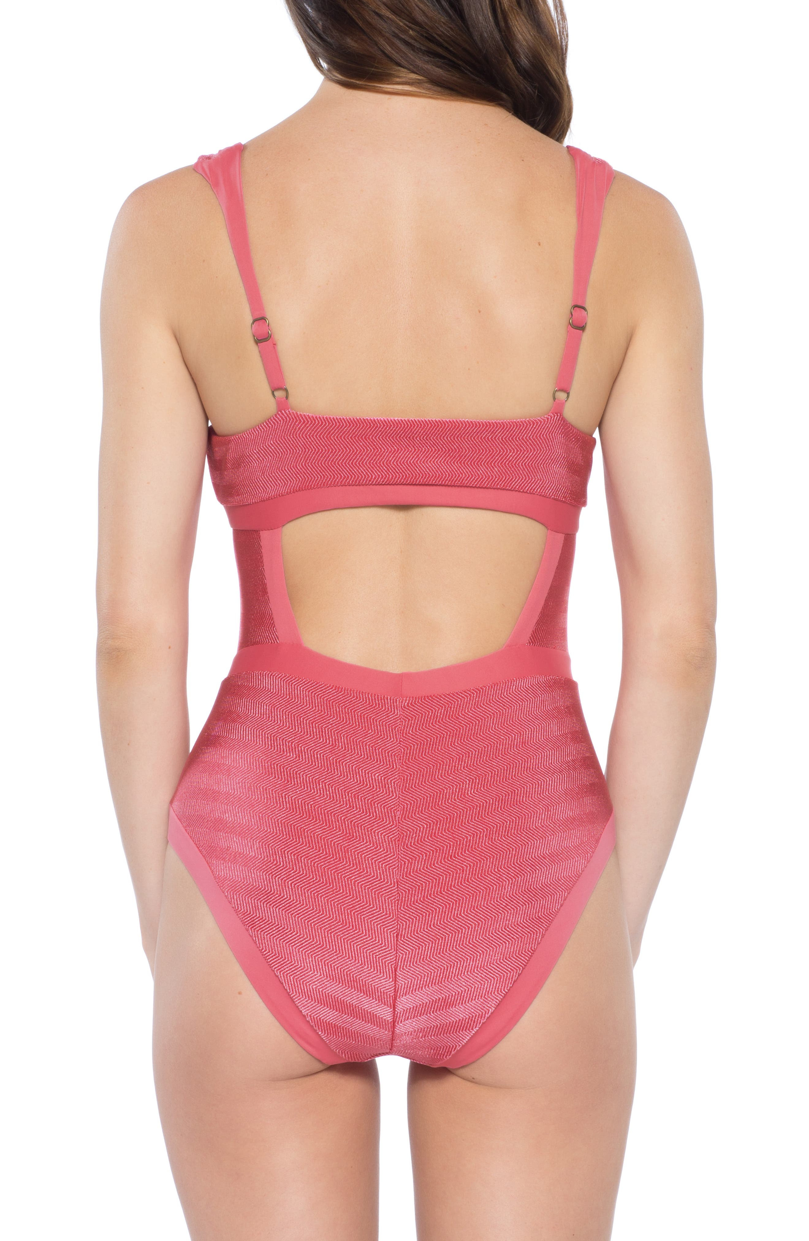 BECCA, Canyon Mesa One-Piece Swimsuit, Alternate thumbnail 2, color, BAKED BLUSH