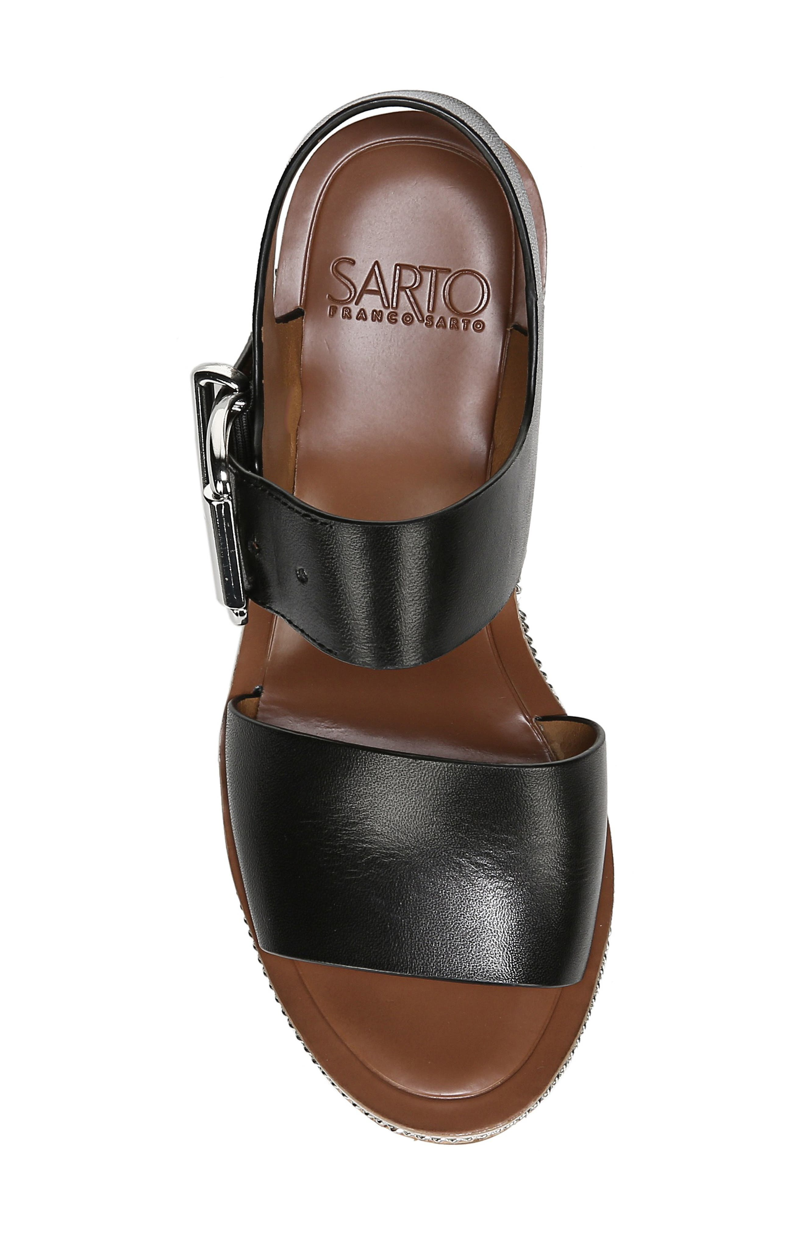 SARTO BY FRANCO SARTO, Polly Wedge Slingback Sandal, Alternate thumbnail 5, color, BLACK LEATHER