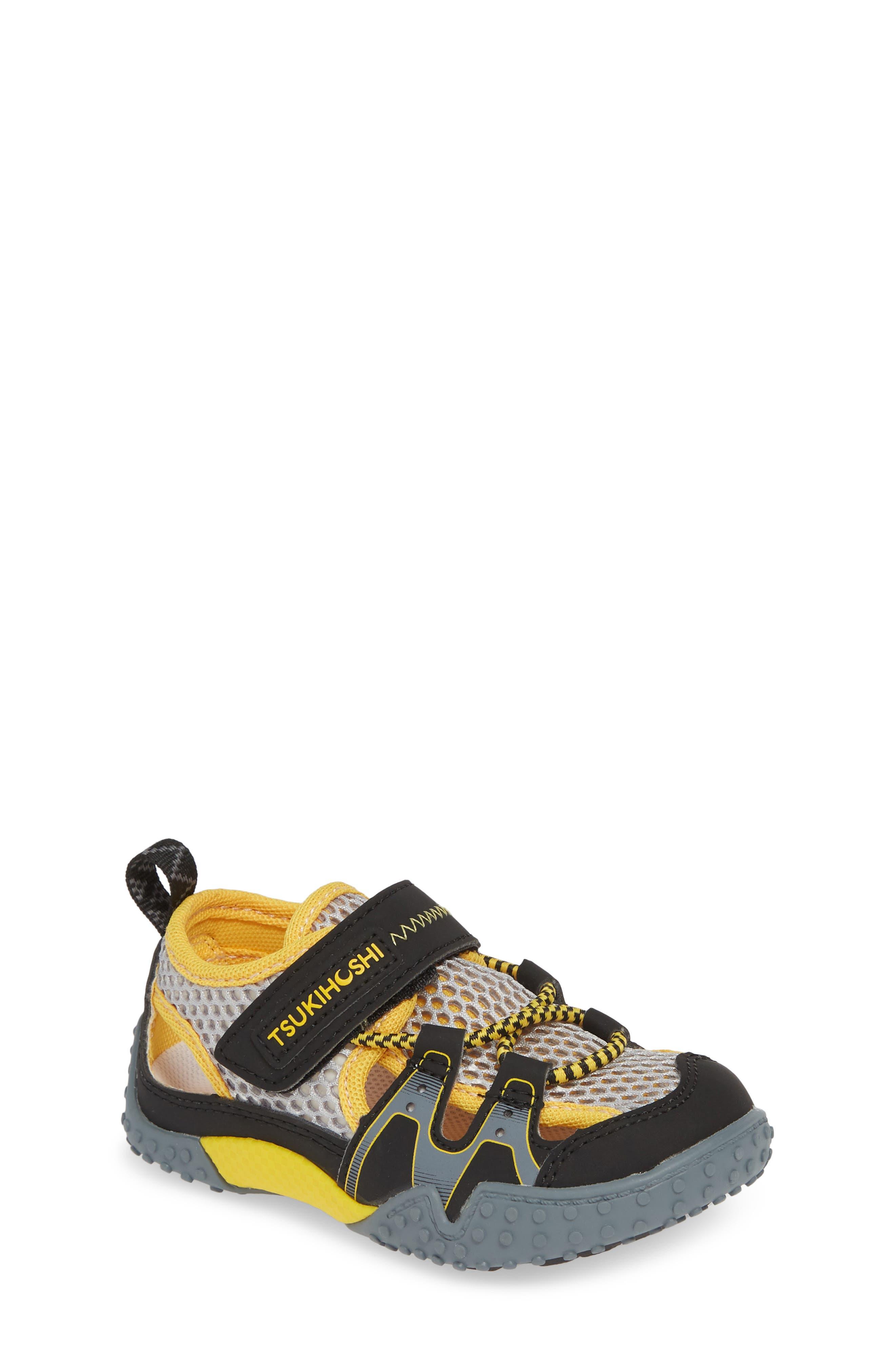 TSUKIHOSHI Ibiza Washable Sandal, Main, color, BLACK/ YELLOW