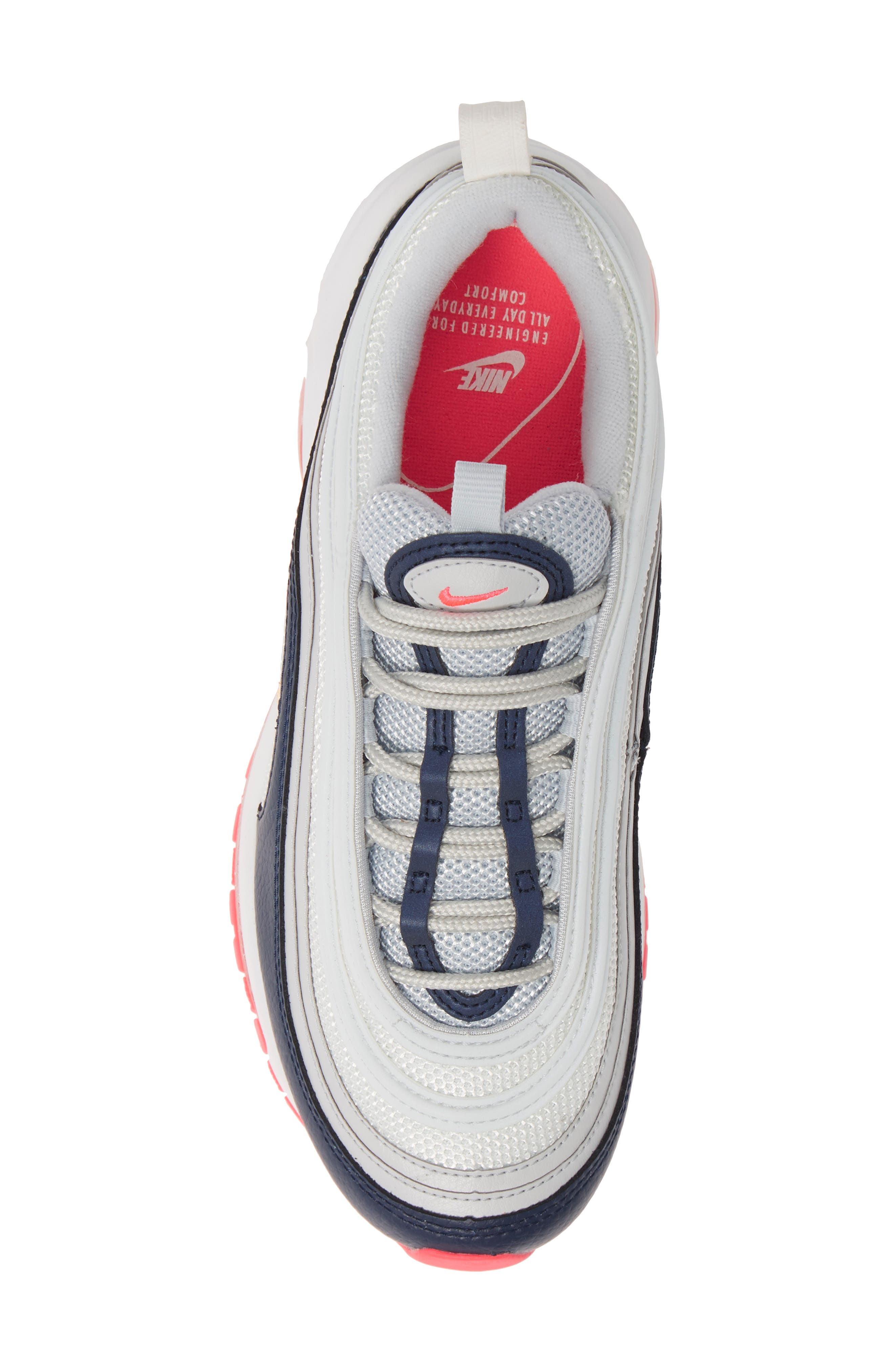 NIKE, Air Max 97 Sneaker, Alternate thumbnail 5, color, PLATINUM/ LASER ORANGE/ NAVY
