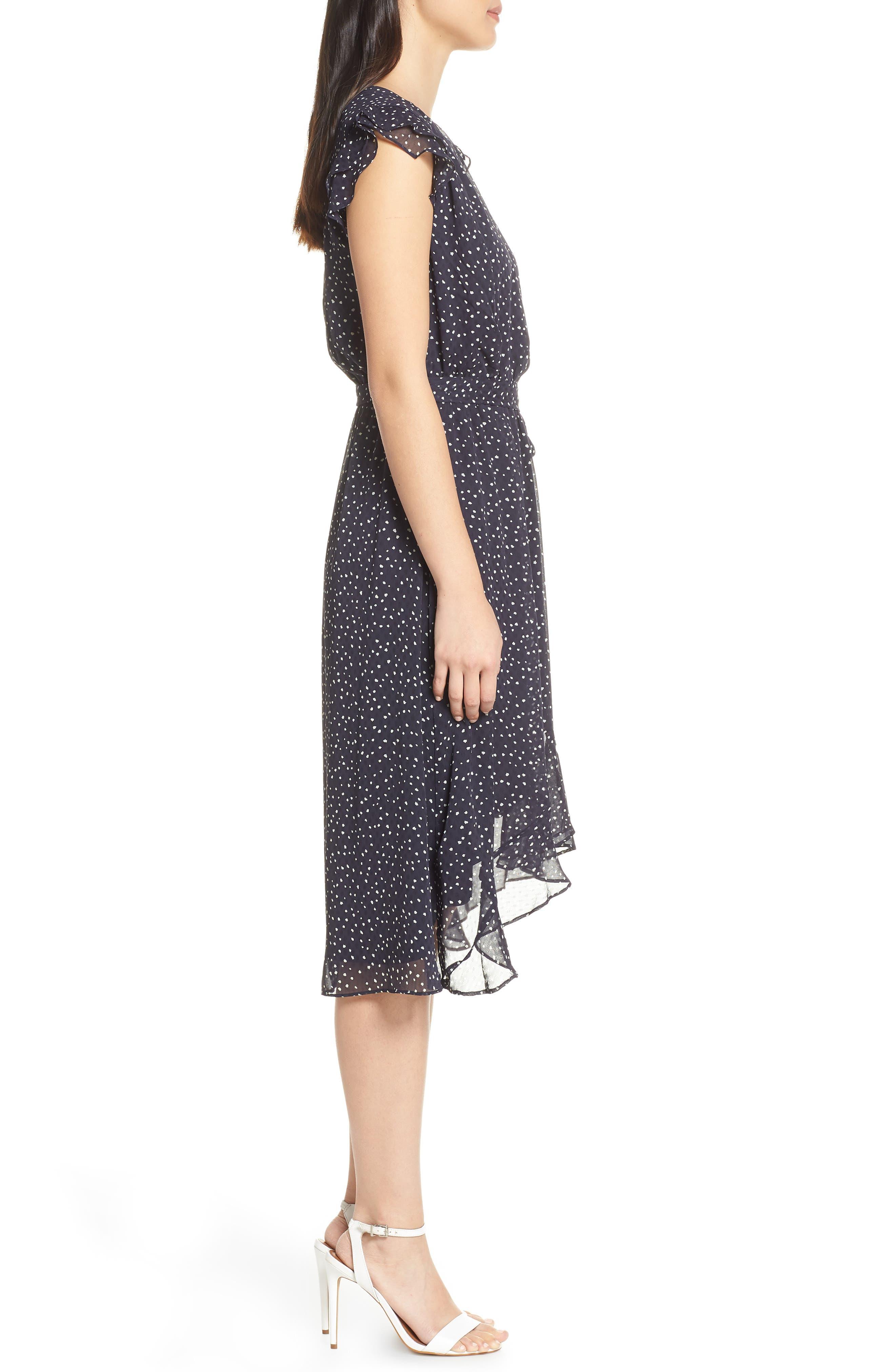 19 COOPER, Polka Dot Ruffle Sleeve Chiffon Dress, Alternate thumbnail 3, color, 400