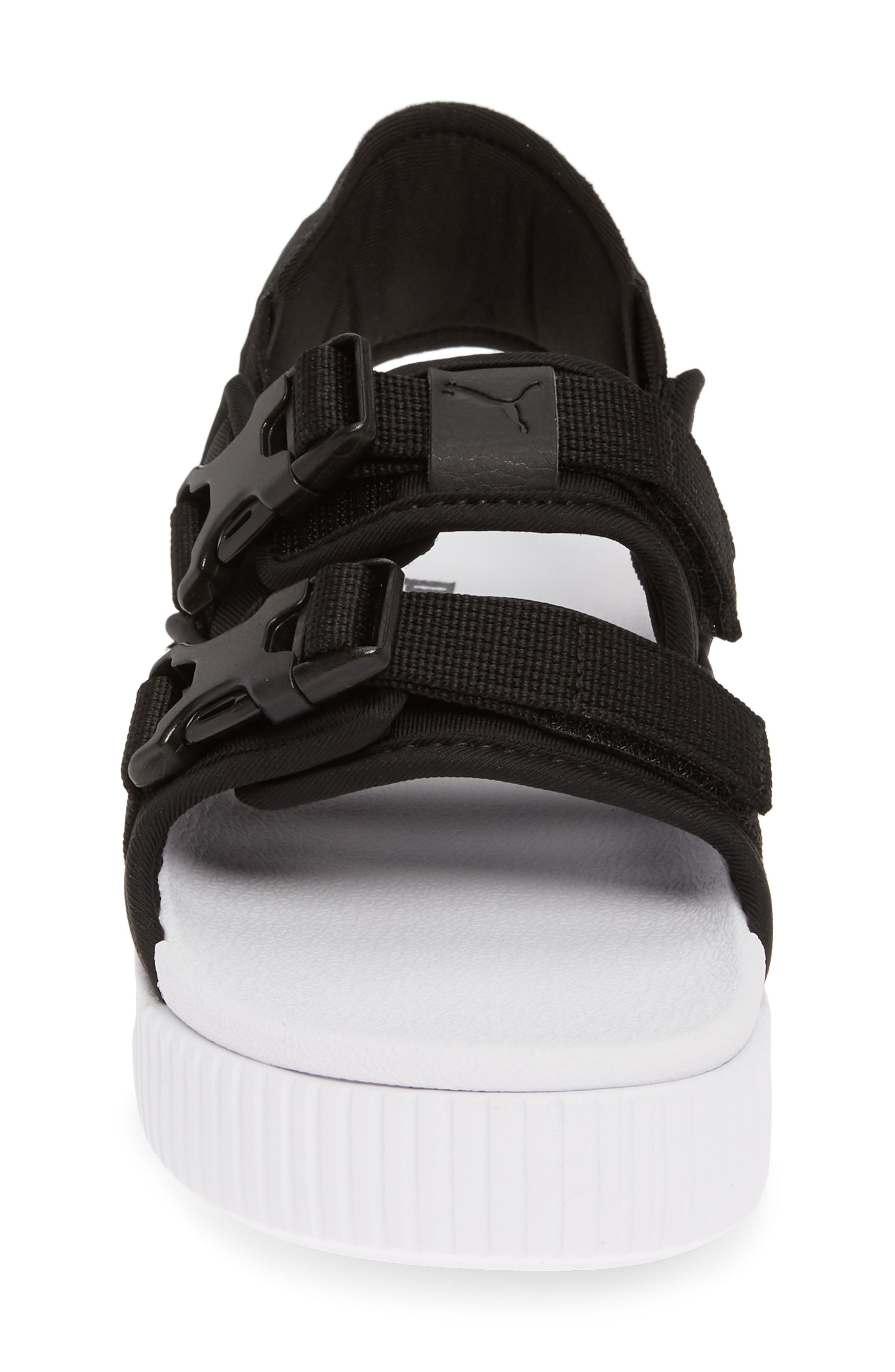 PUMA, Platform Slide YLM 19 Sandal, Alternate thumbnail 4, color, BLACK/ WHITE
