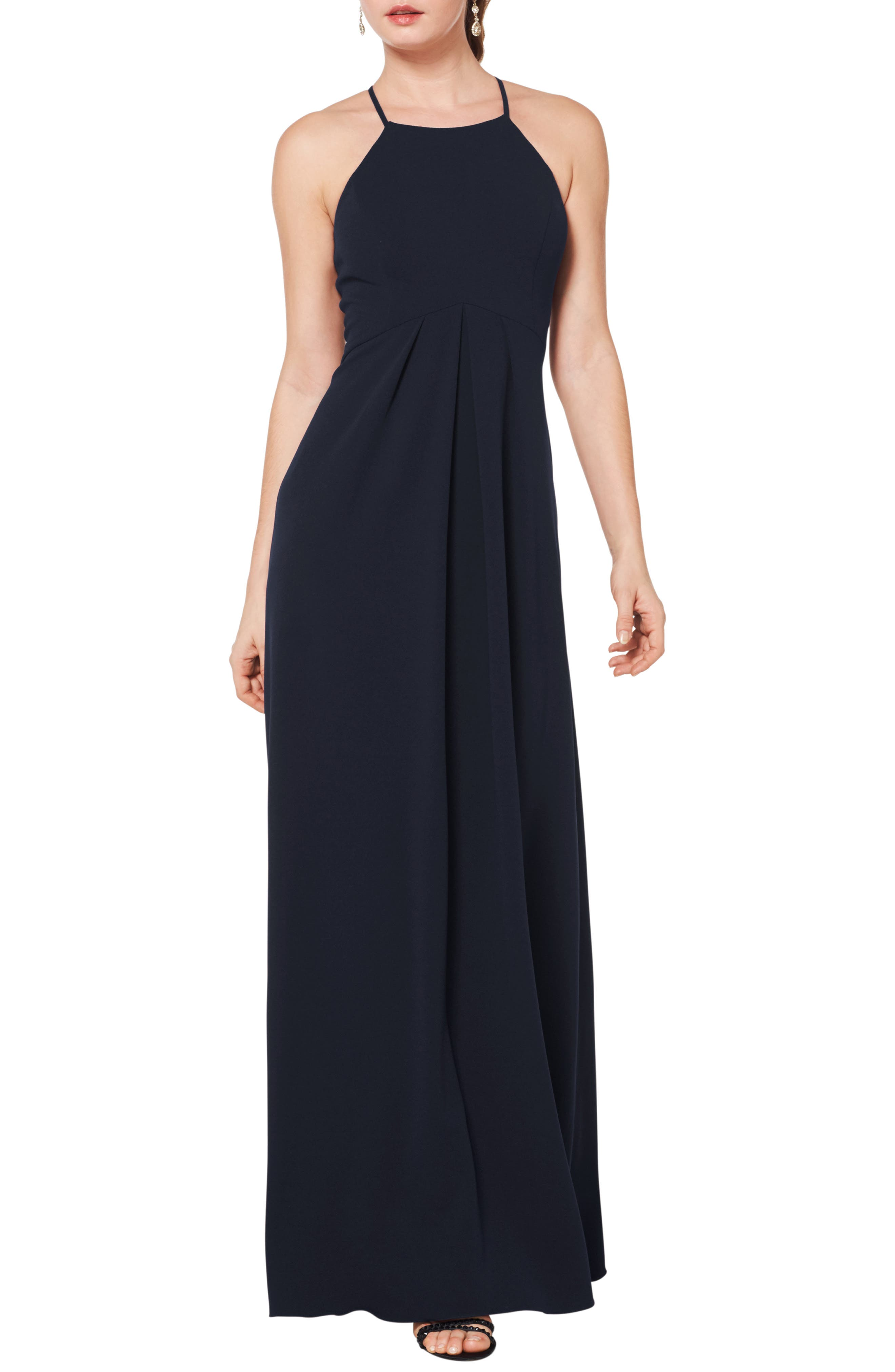 #levkoff Halter Crepe A-Line Gown, Blue