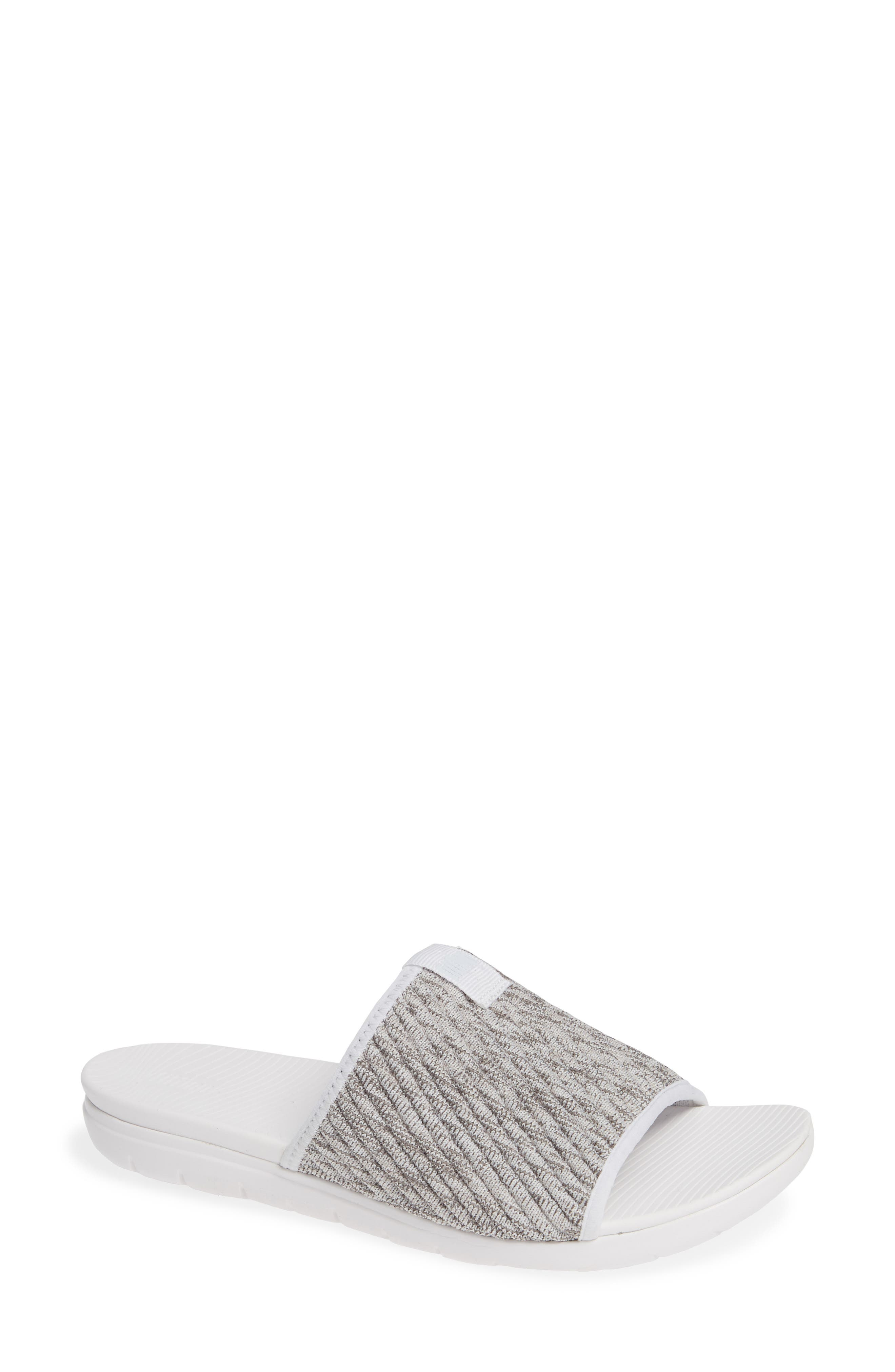 FITFLOP, Artknit Slide Sandal, Main thumbnail 1, color, URBAN WHITE MIX FABRIC