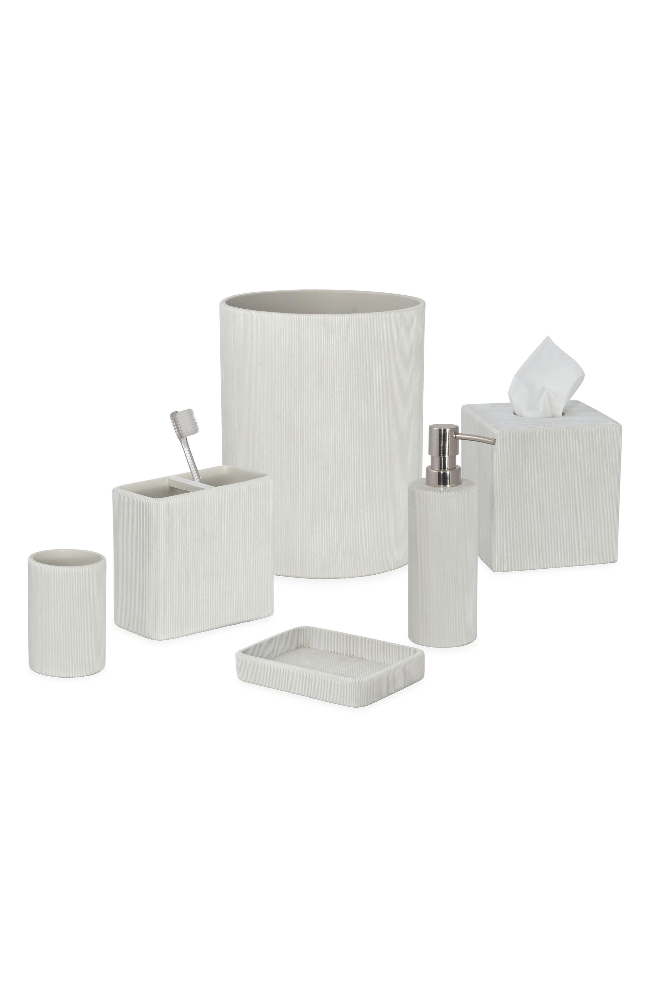 DKNY, Fine Lines Ceramic Tissue Box Cover, Alternate thumbnail 2, color, WHITE