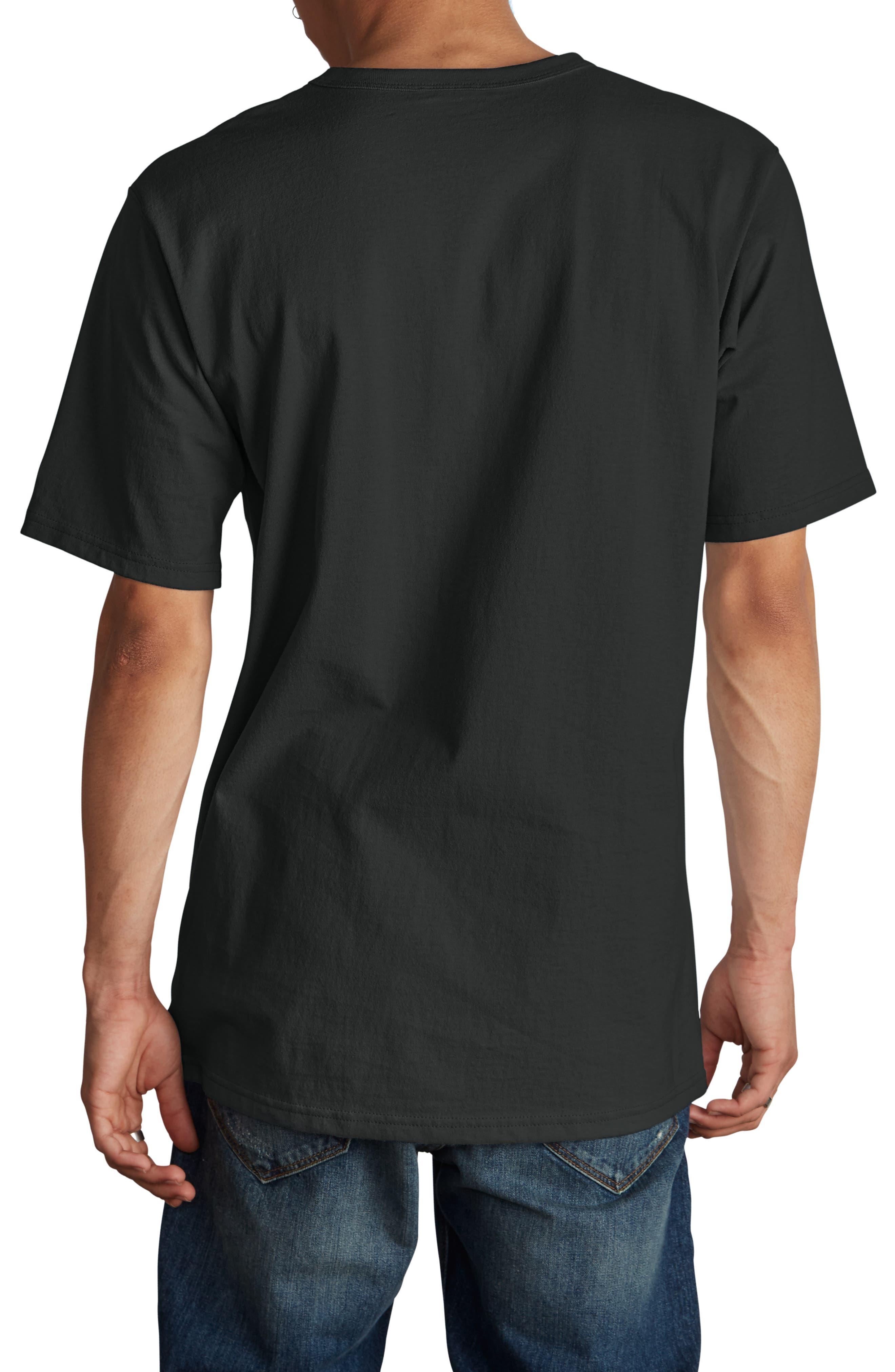 CHAMPION, Elevated C-Patch T-Shirt, Alternate thumbnail 2, color, BLACK