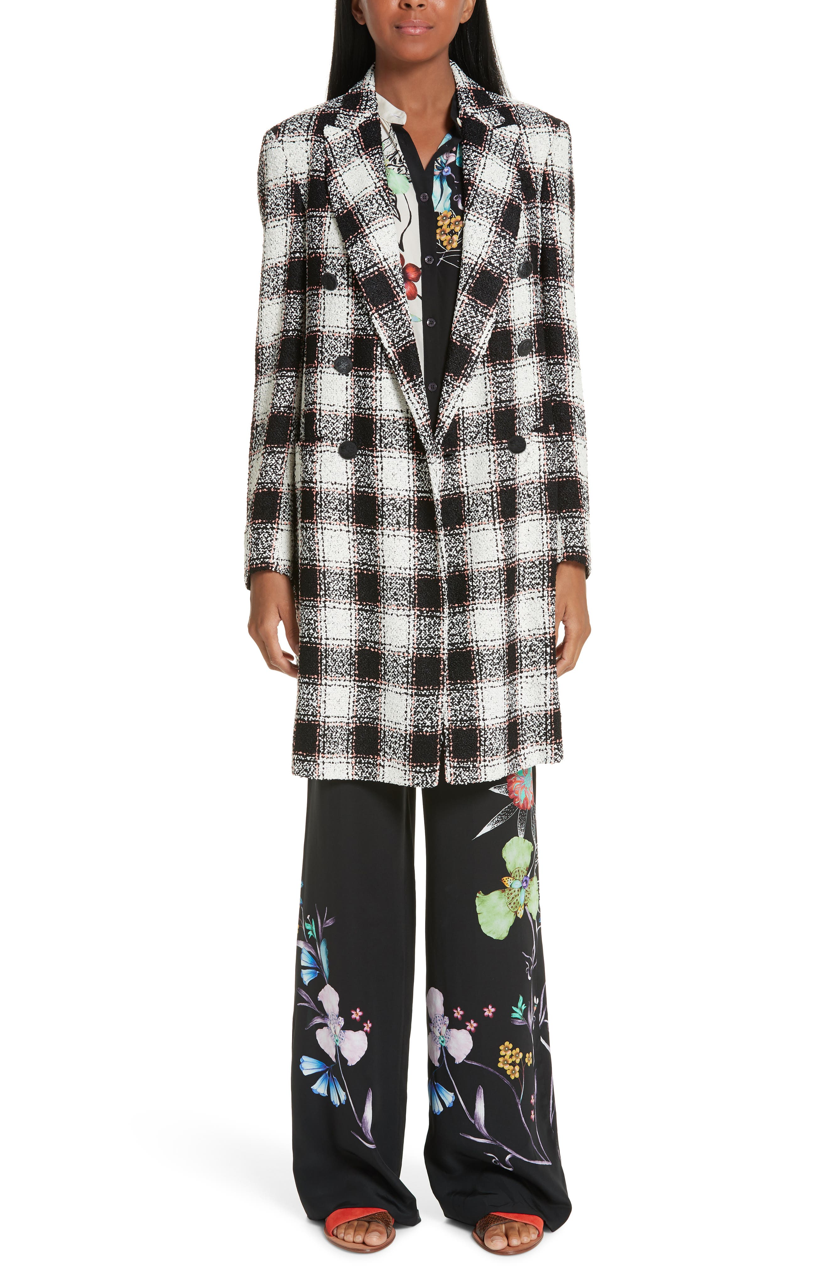 ETRO, Double Breasted Checked Tweed Jacket, Alternate thumbnail 7, color, WHITE