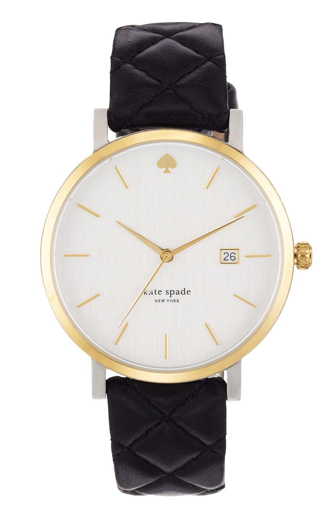 KATE SPADE NEW YORK, 'metro grand' quilted strap watch, 38mm, Alternate thumbnail 6, color, 001