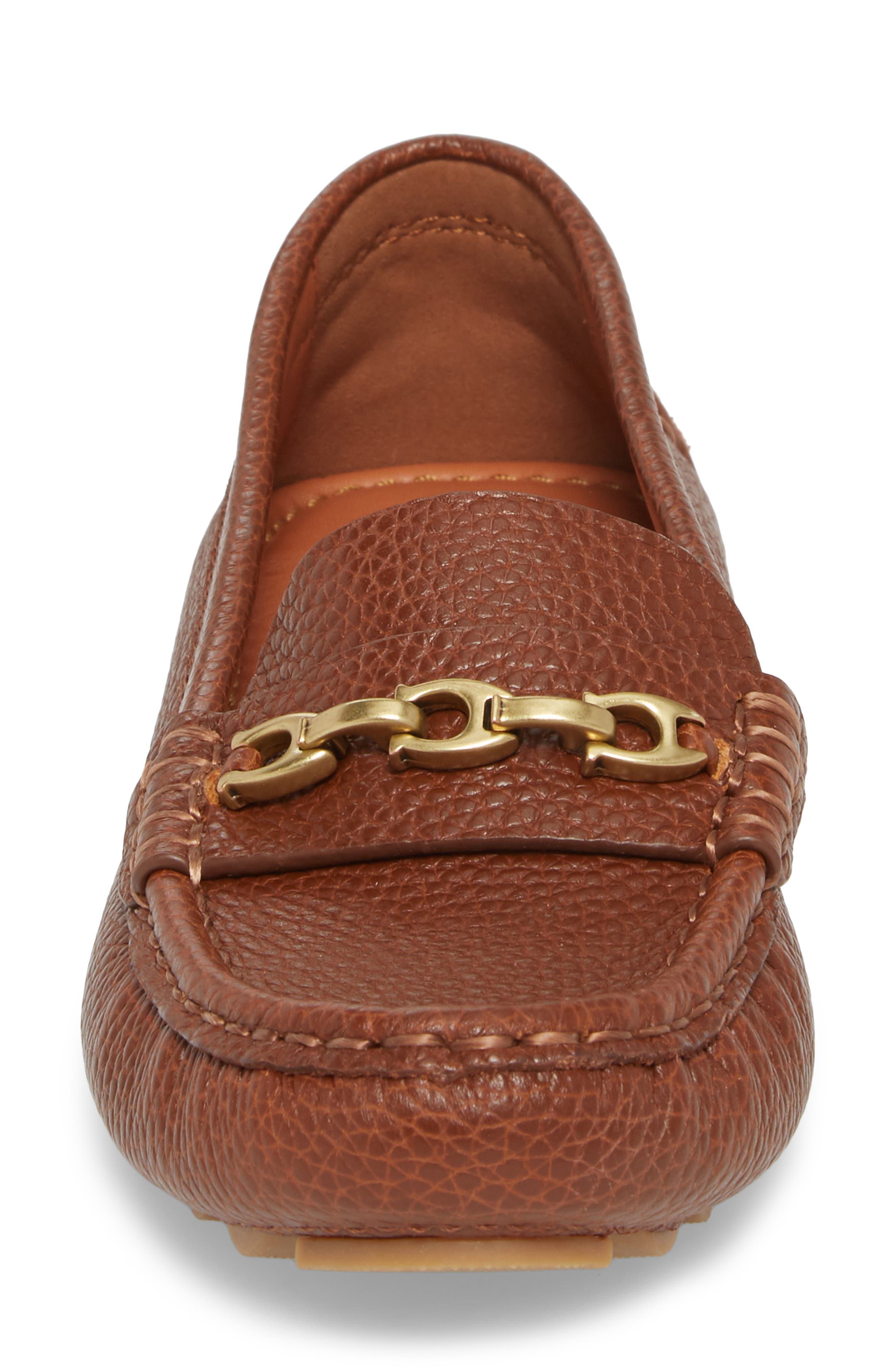 COACH, Crosby Driver Loafer, Alternate thumbnail 4, color, LION PEBBLED LEATHER