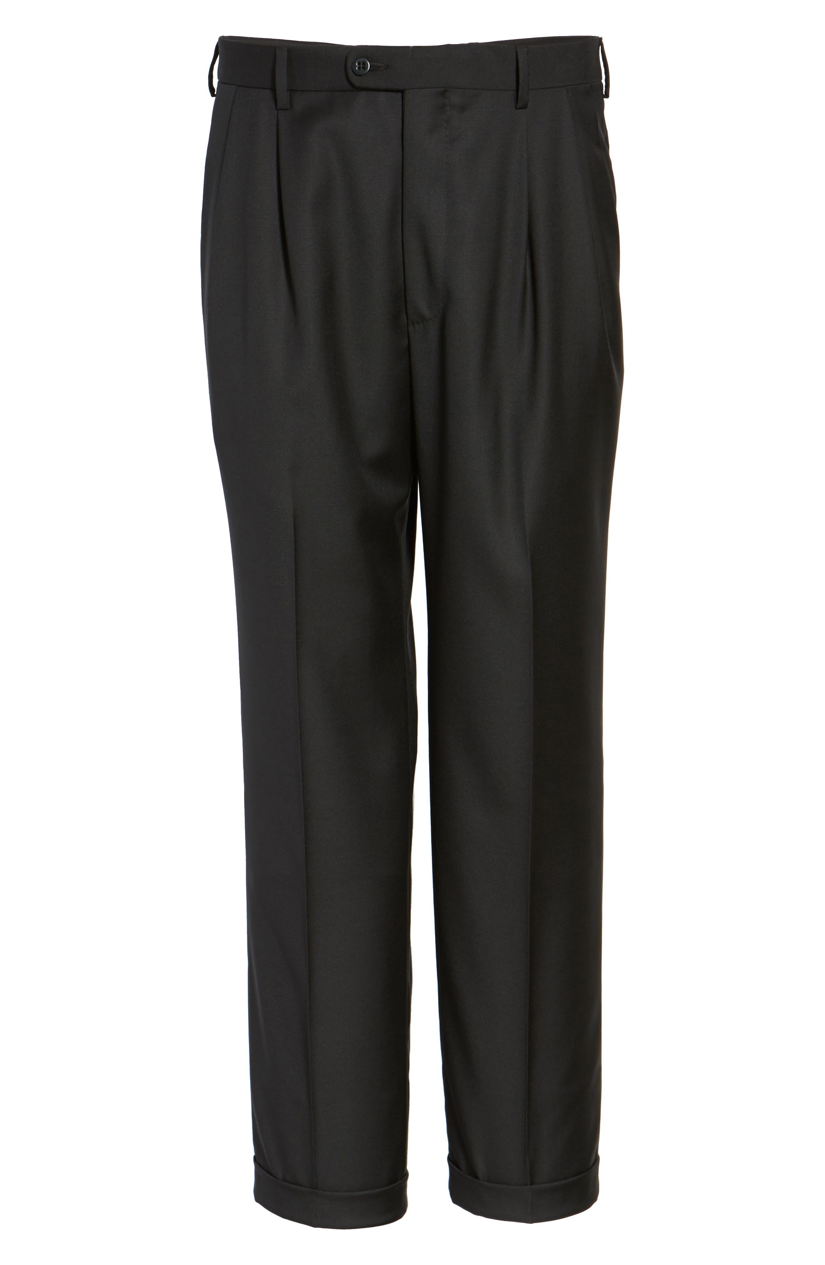 ZANELLA, Bennett Regular Fit Pleated Trousers, Alternate thumbnail 6, color, BLACK