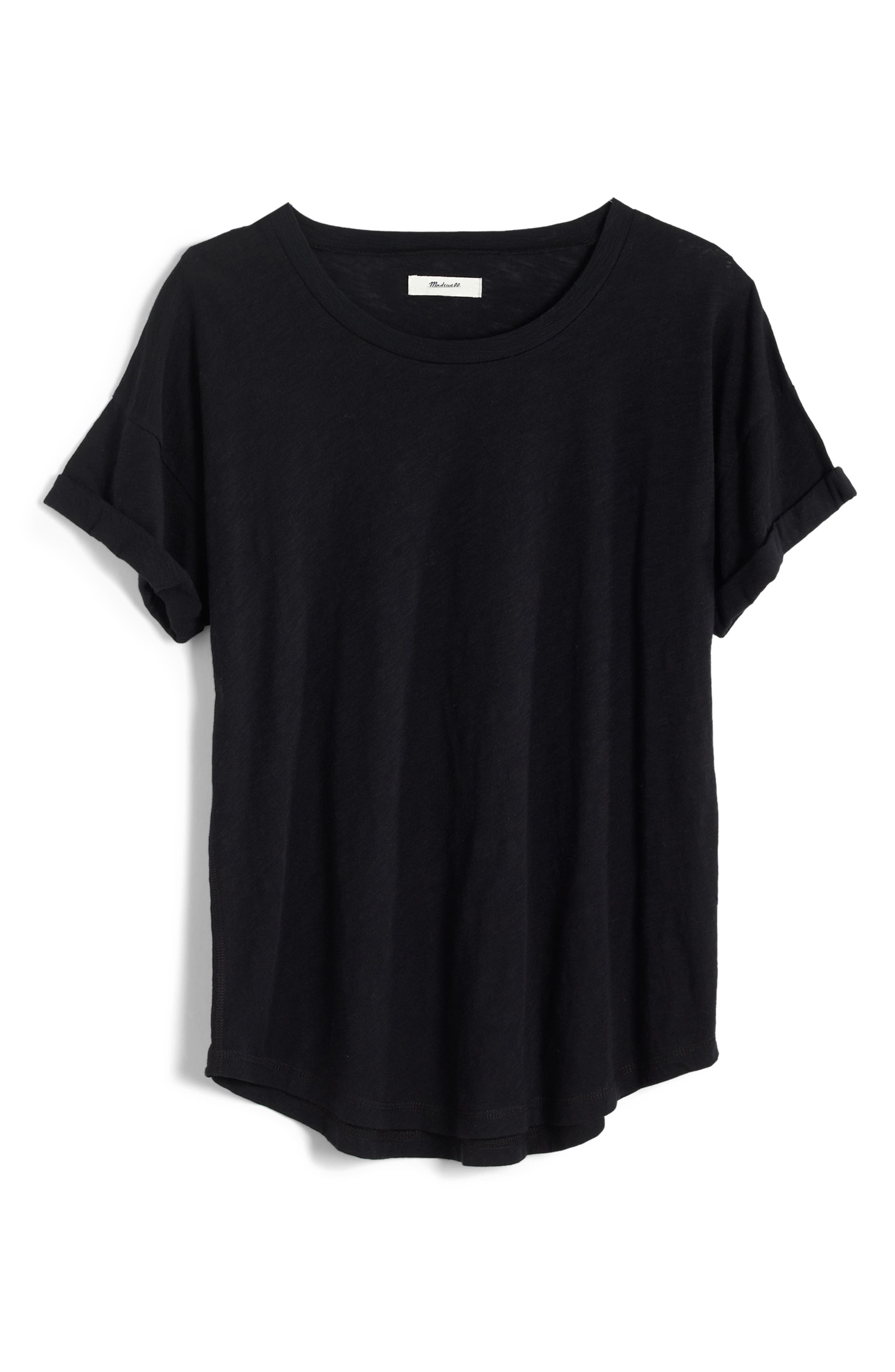 MADEWELL, 'Whisper' Cotton Crewneck Tee, Alternate thumbnail 3, color, TRUE BLACK