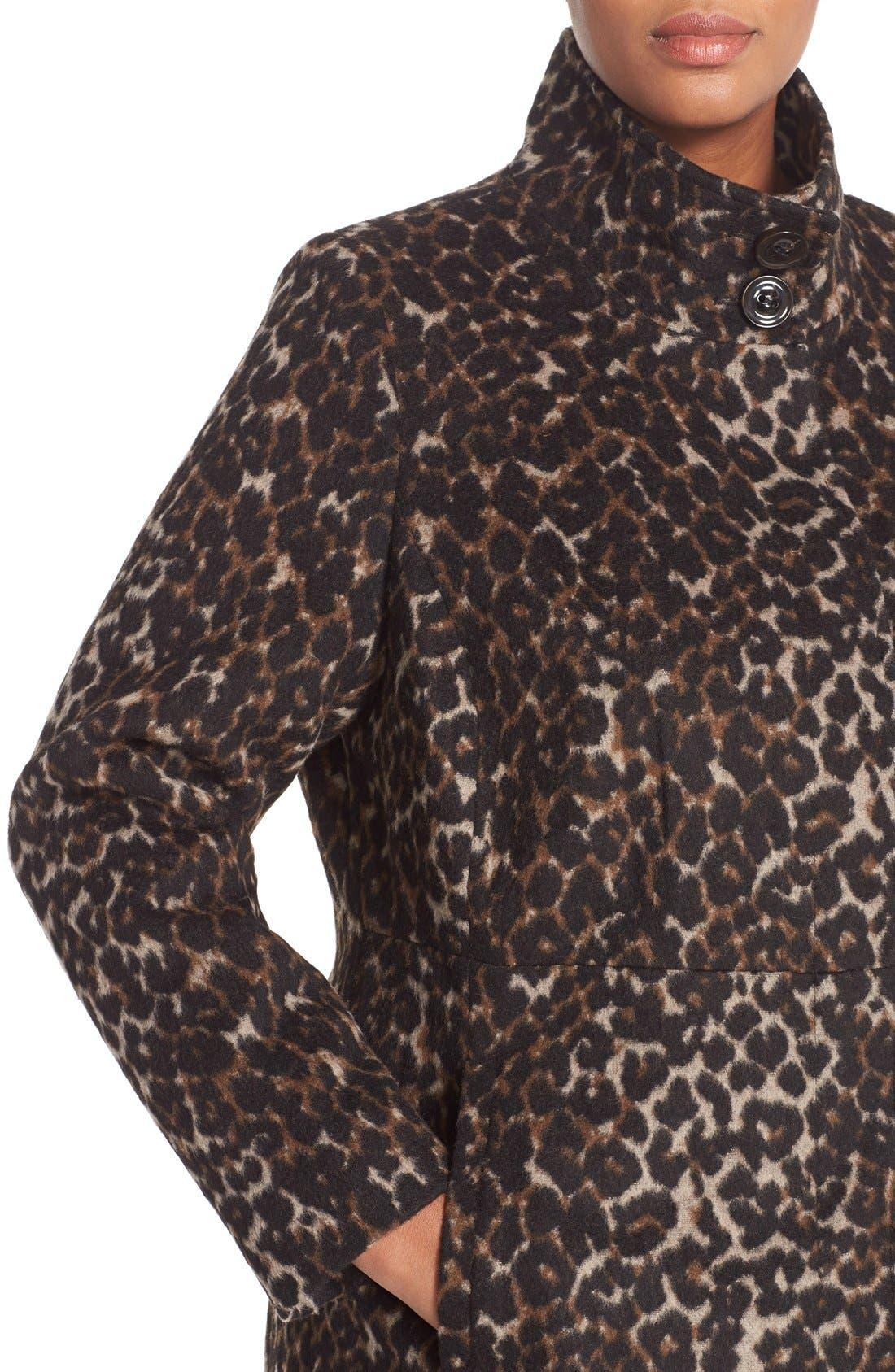 VIA SPIGA, Leopard Print Stand Collar Coat, Alternate thumbnail 4, color, 250