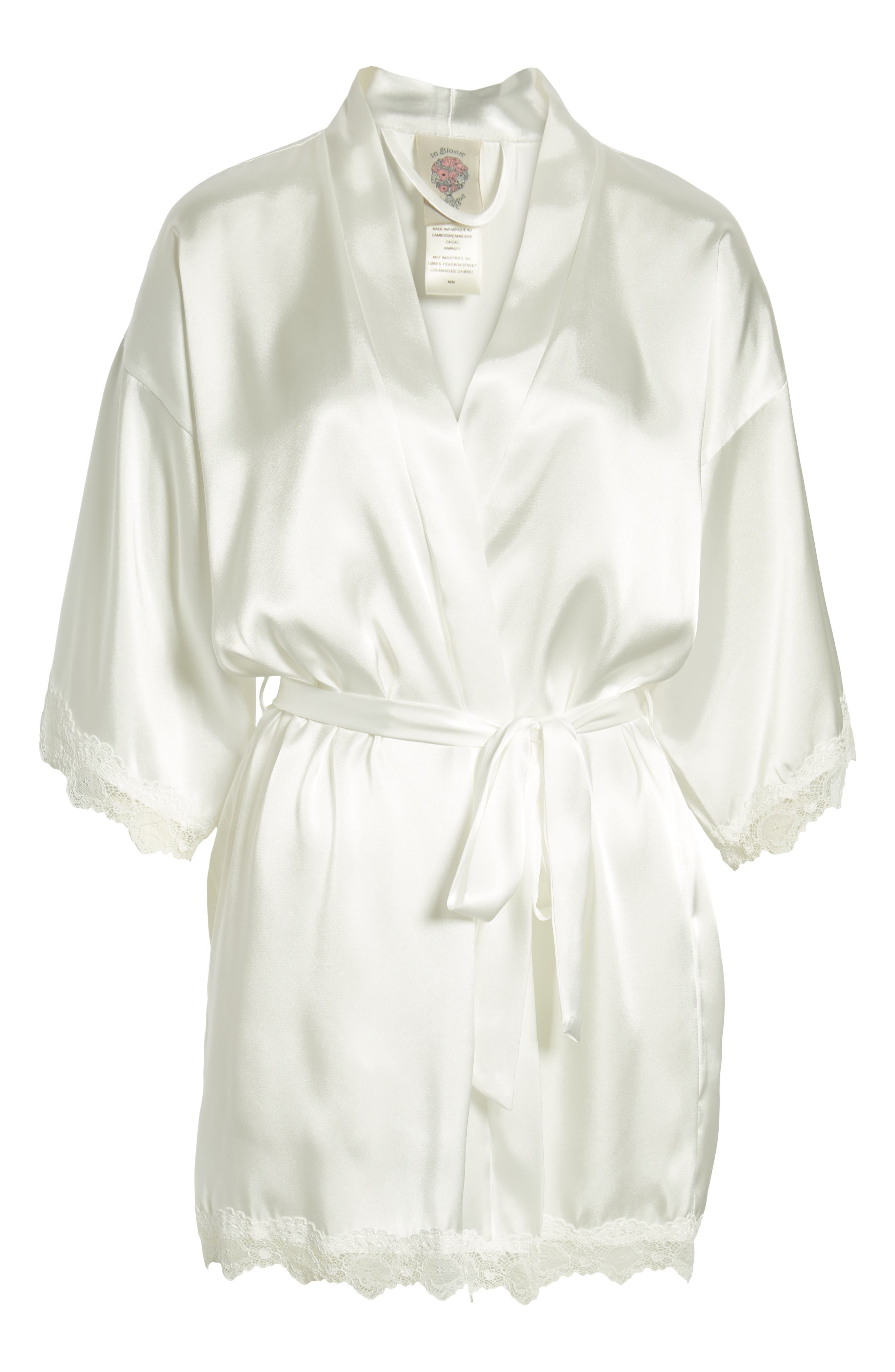 IN BLOOM BY JONQUIL, The Bride Short Satin Wrap, Alternate thumbnail 5, color, WHITE