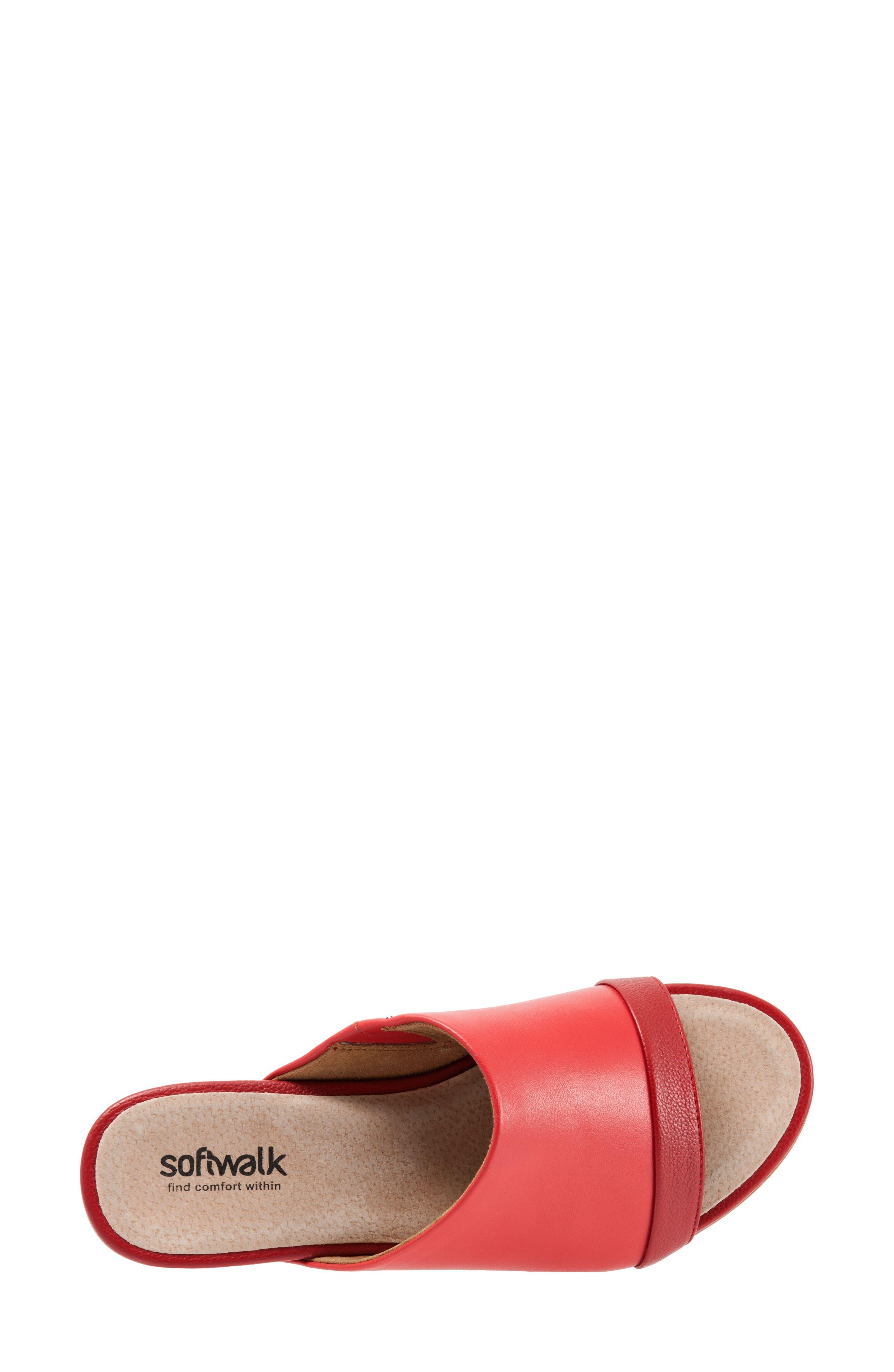 SOFTWALK<SUP>®</SUP>, Del Mar Slide Sandal, Alternate thumbnail 5, color, RED LEATHER