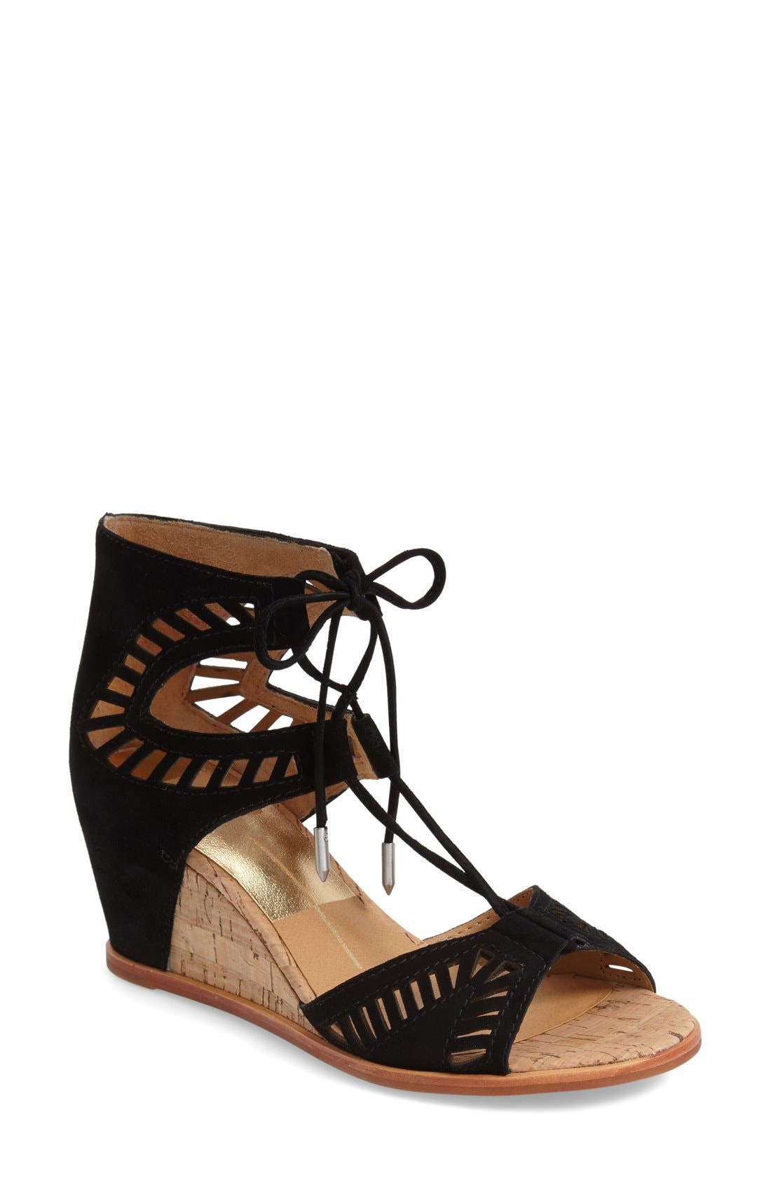 DOLCE VITA, 'Linsey' Lace-Up Wedge Sandal, Main thumbnail 1, color, 001