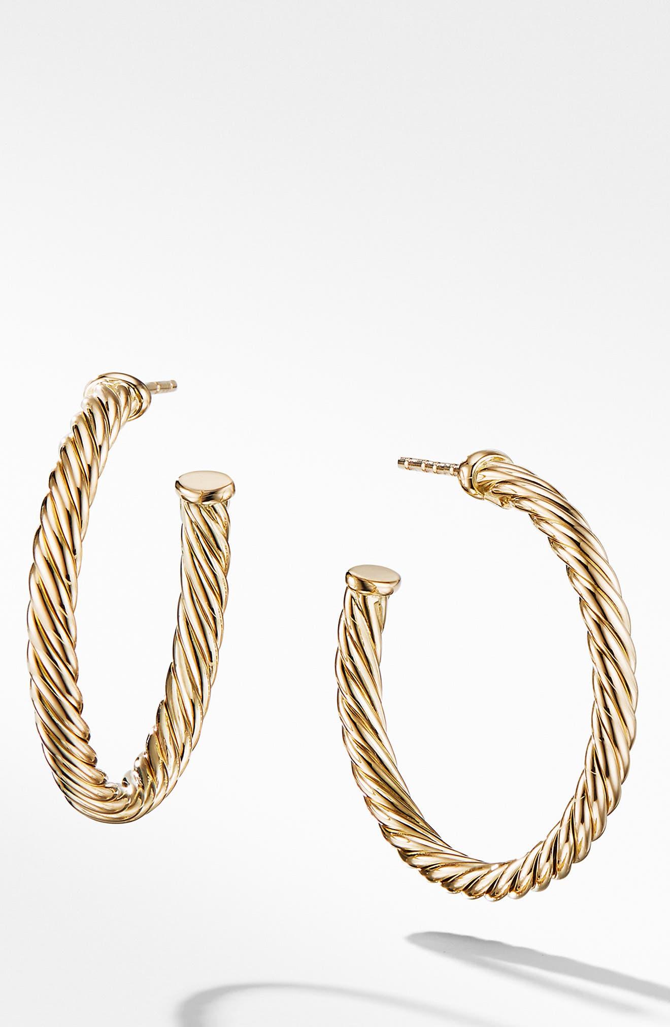 DAVID YURMAN Cable Loop Hoop Earrings, Main, color, GOLD