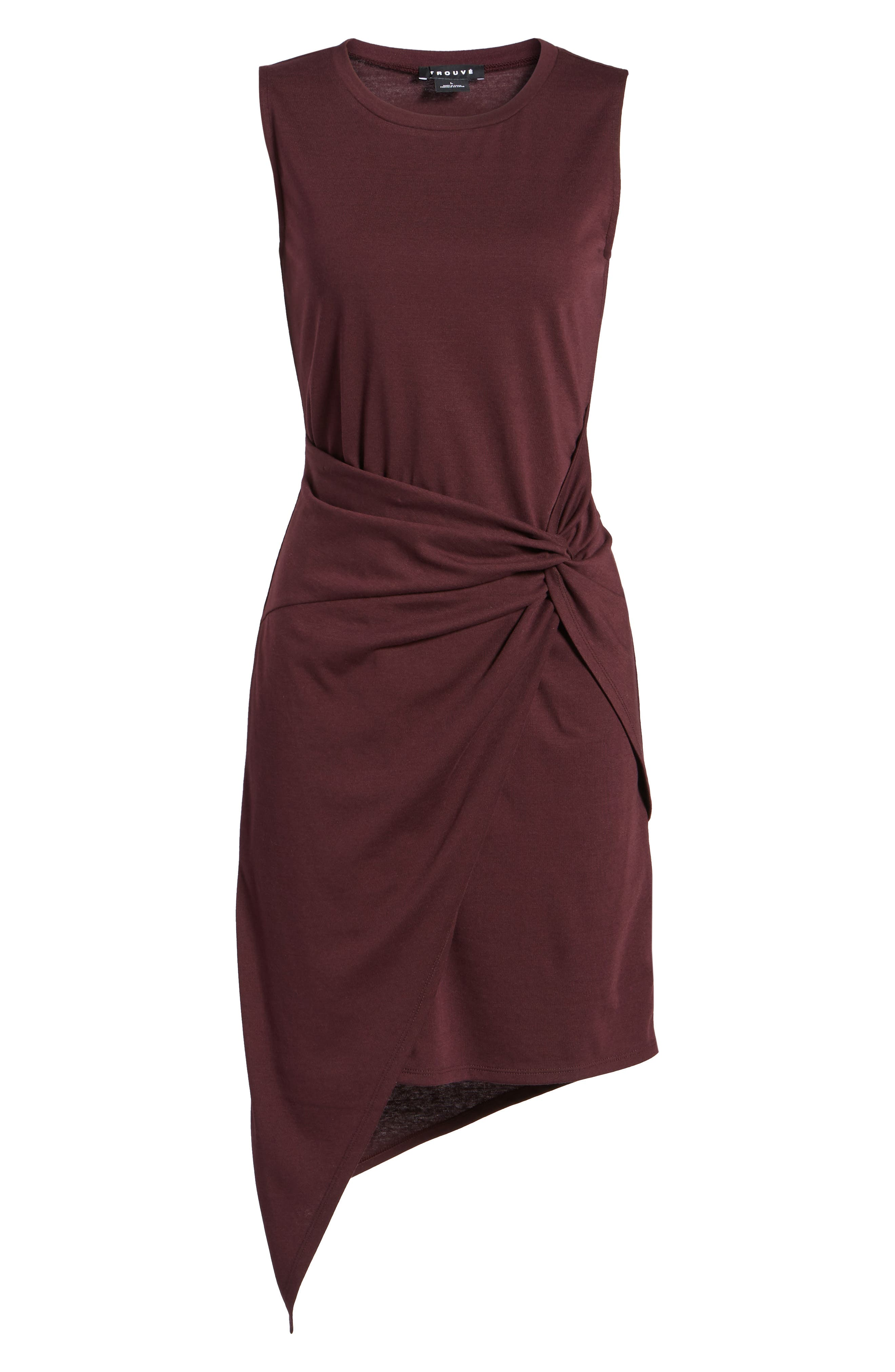 CHELSEA28, Twist Front Dress, Alternate thumbnail 7, color, BURGUNDY STEM