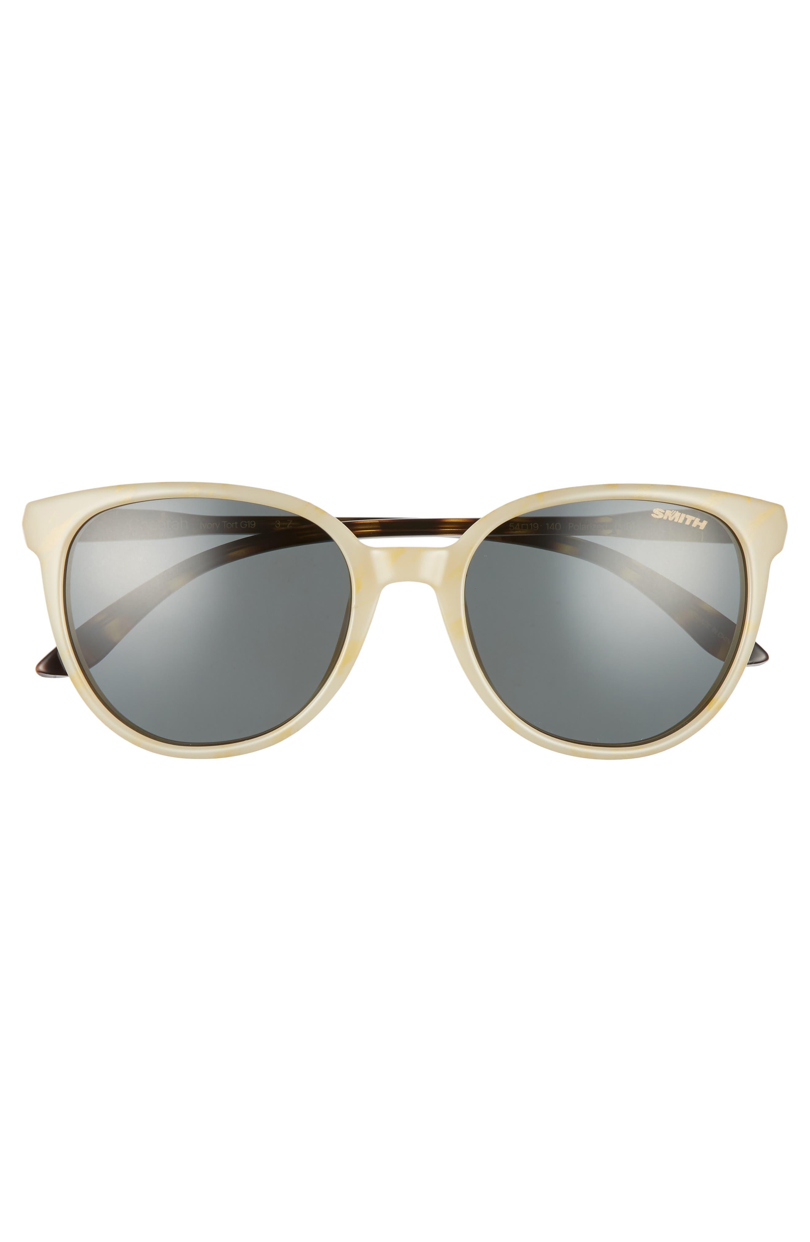 SMITH, Cheetah 54mm ChromaPop<sup>™</sup> Polarized Round Sunglasses, Alternate thumbnail 3, color, IVORY TORTOISE