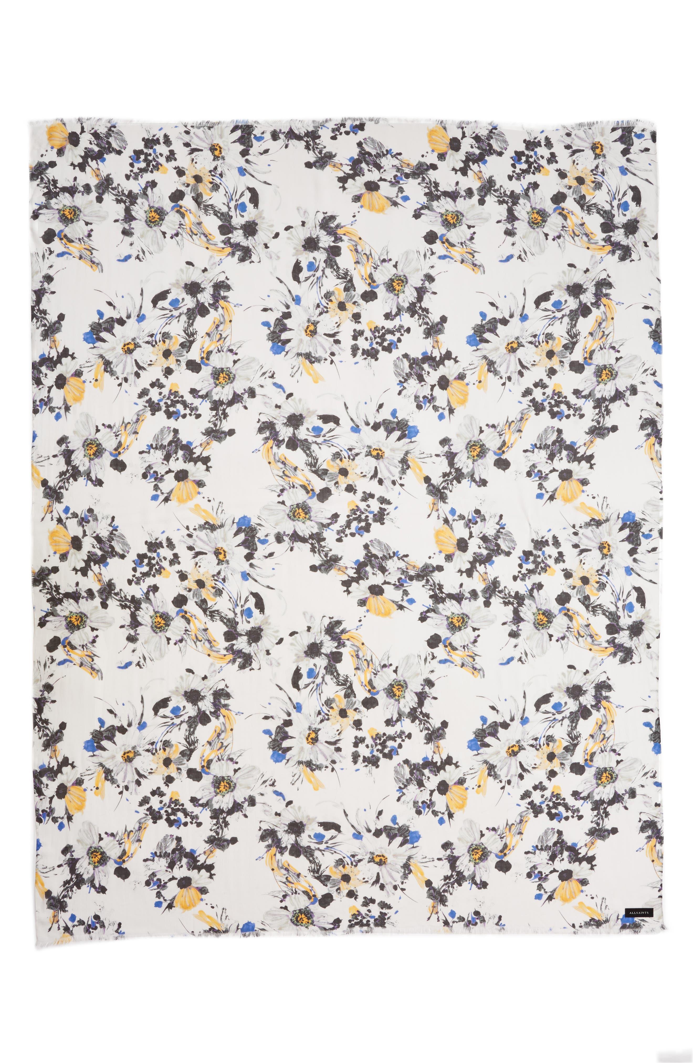 ALLSAINTS, Floral Modal Scarf, Alternate thumbnail 3, color, PORCELAIN