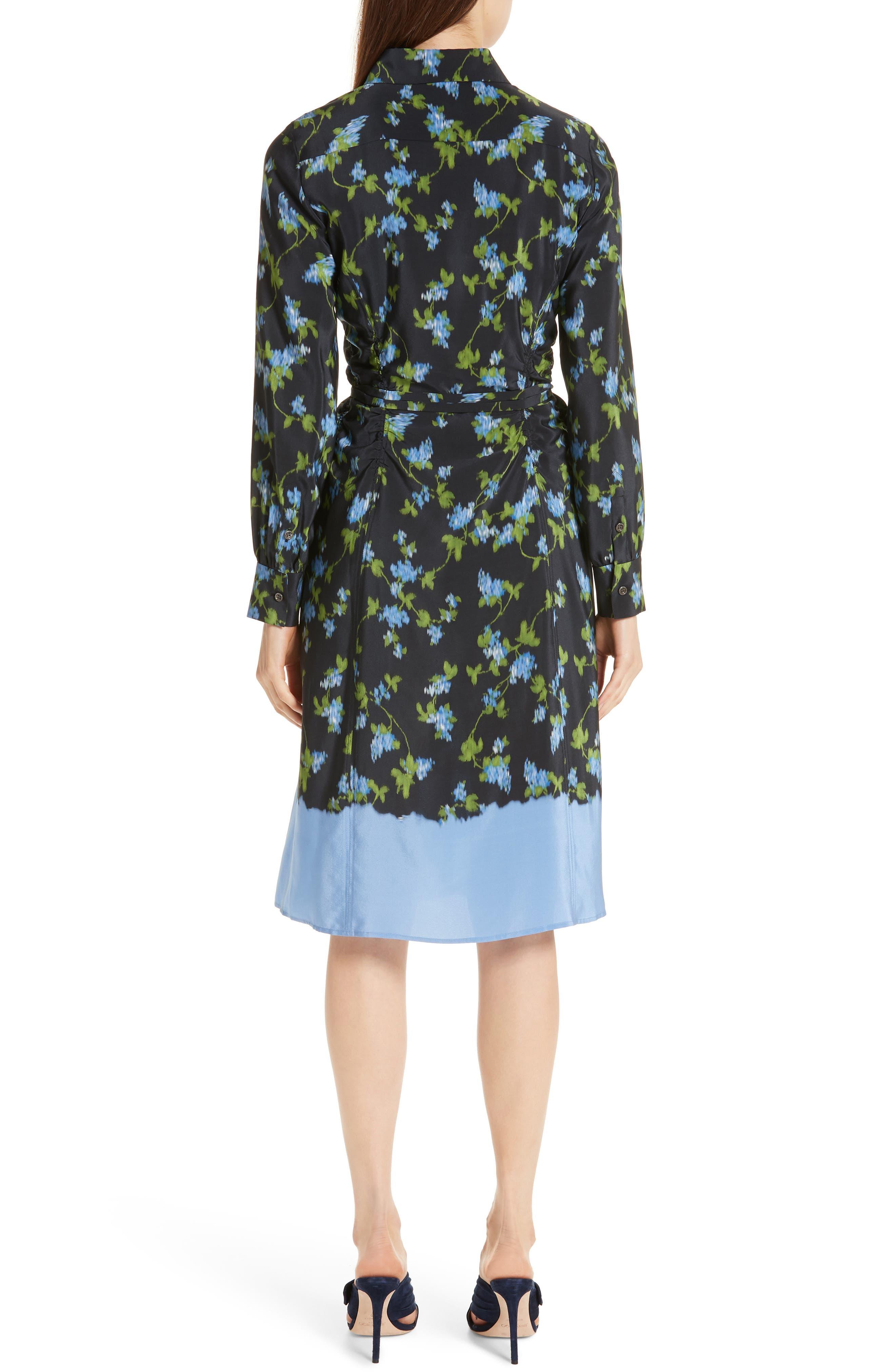 ALTUZARRA, Floral Print Silk Dress, Alternate thumbnail 2, color, BLACK