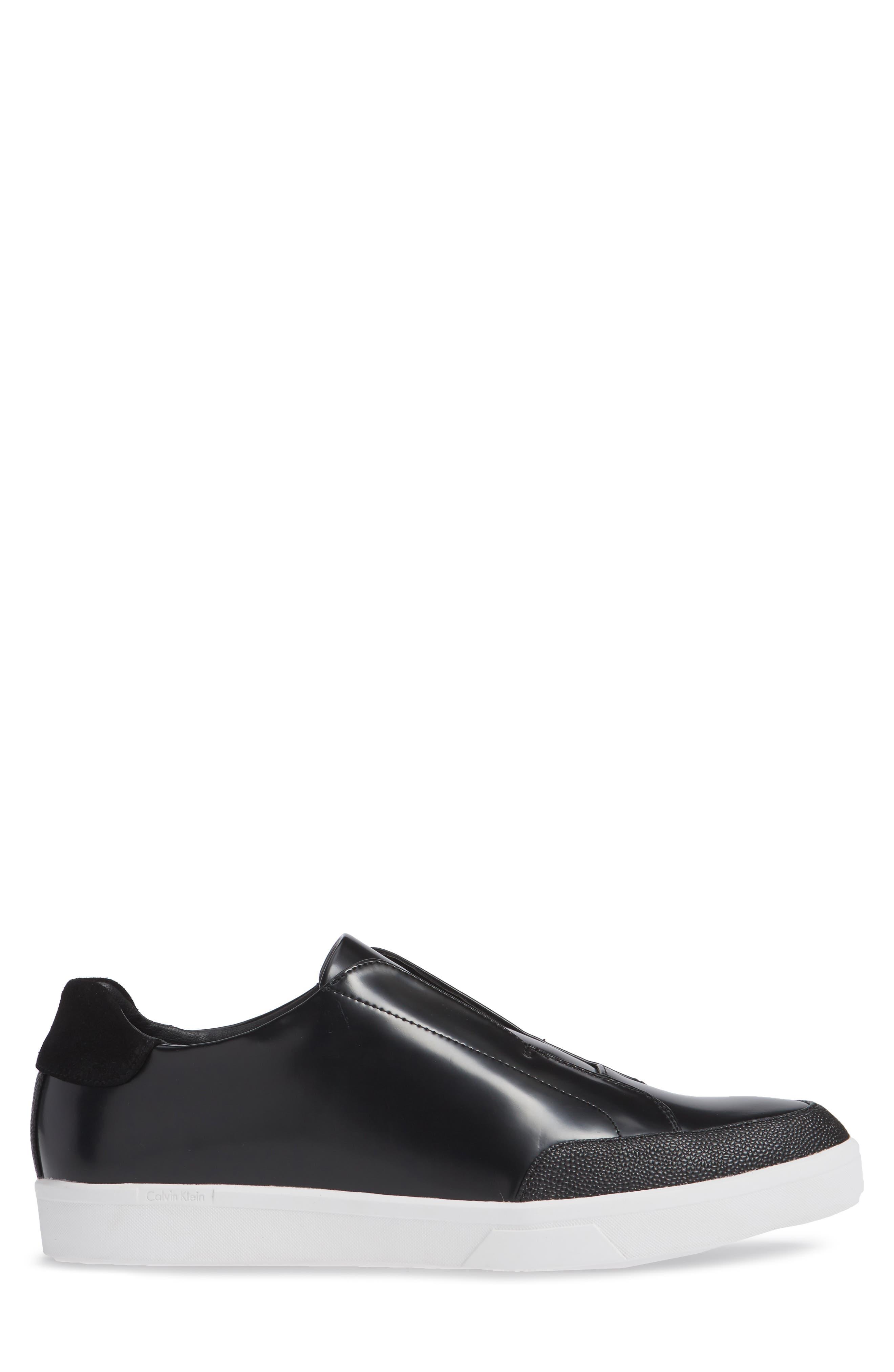 CALVIN KLEIN, Immanuel Slip-On Sneaker, Alternate thumbnail 3, color, BLACK LEATHER