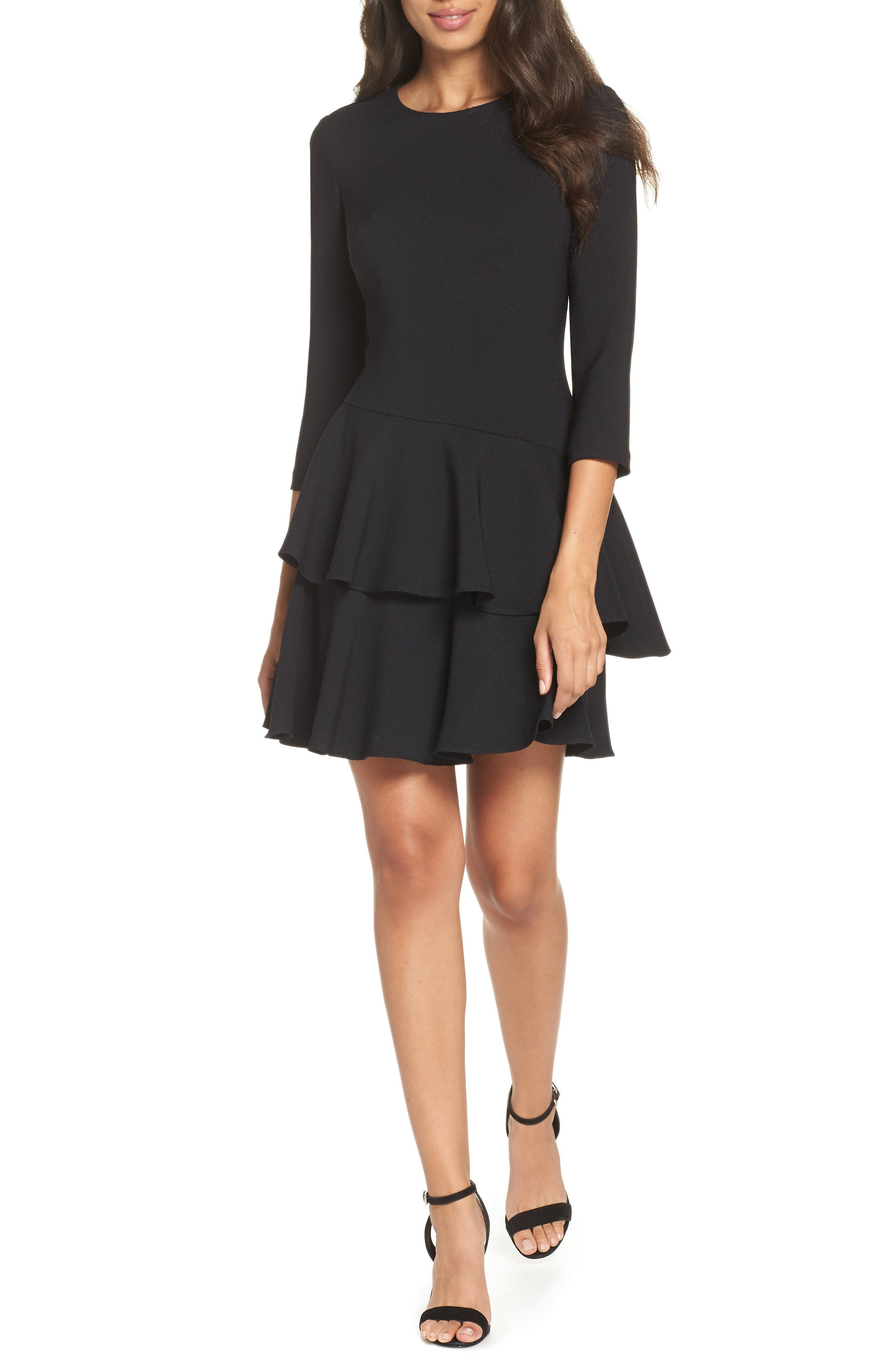 ELIZA J, Tiered Ruffle Knit Dress, Main thumbnail 1, color, 001