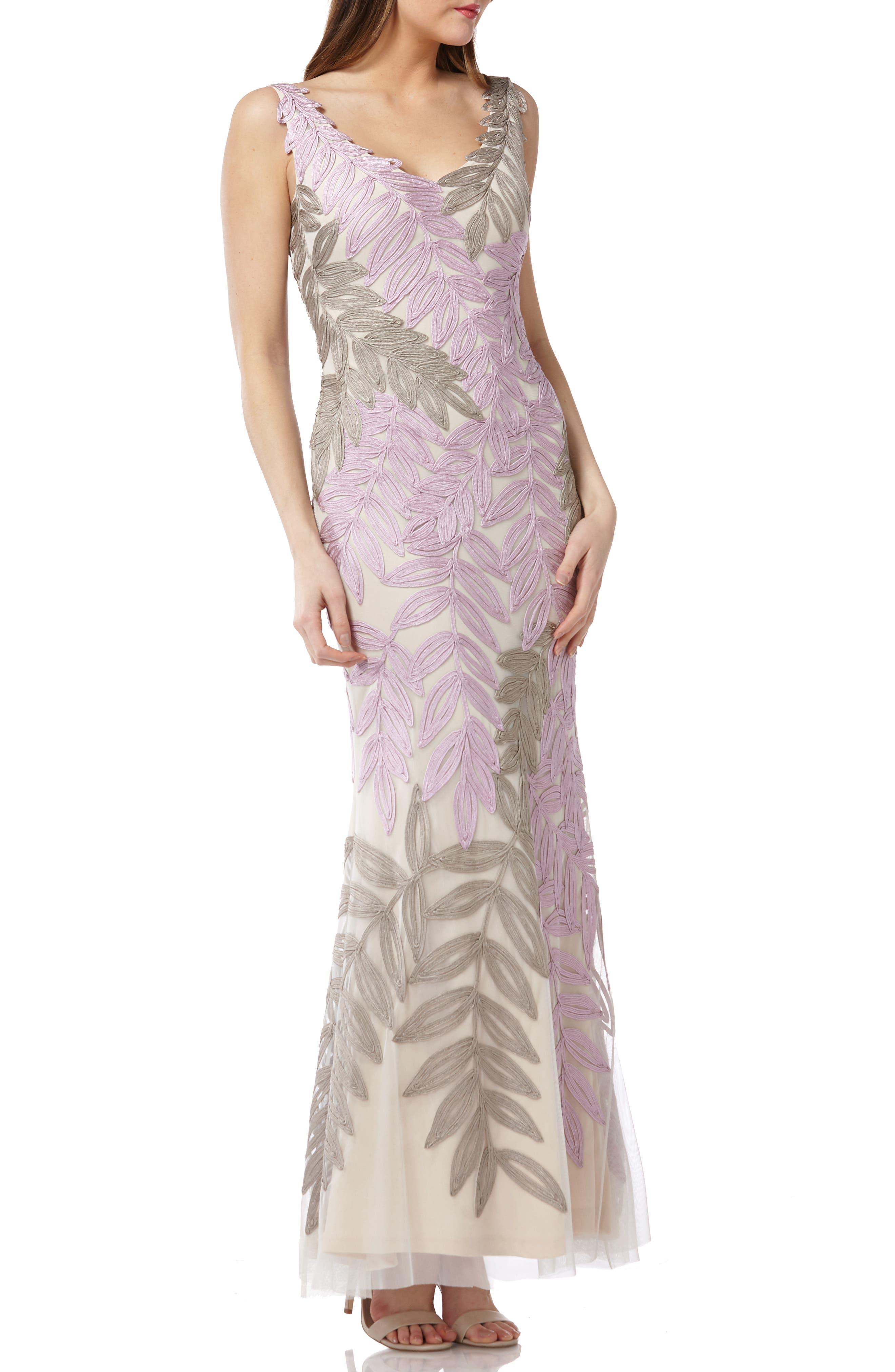 Js Collections Leaf Soutache Trumpet Gown, Pink