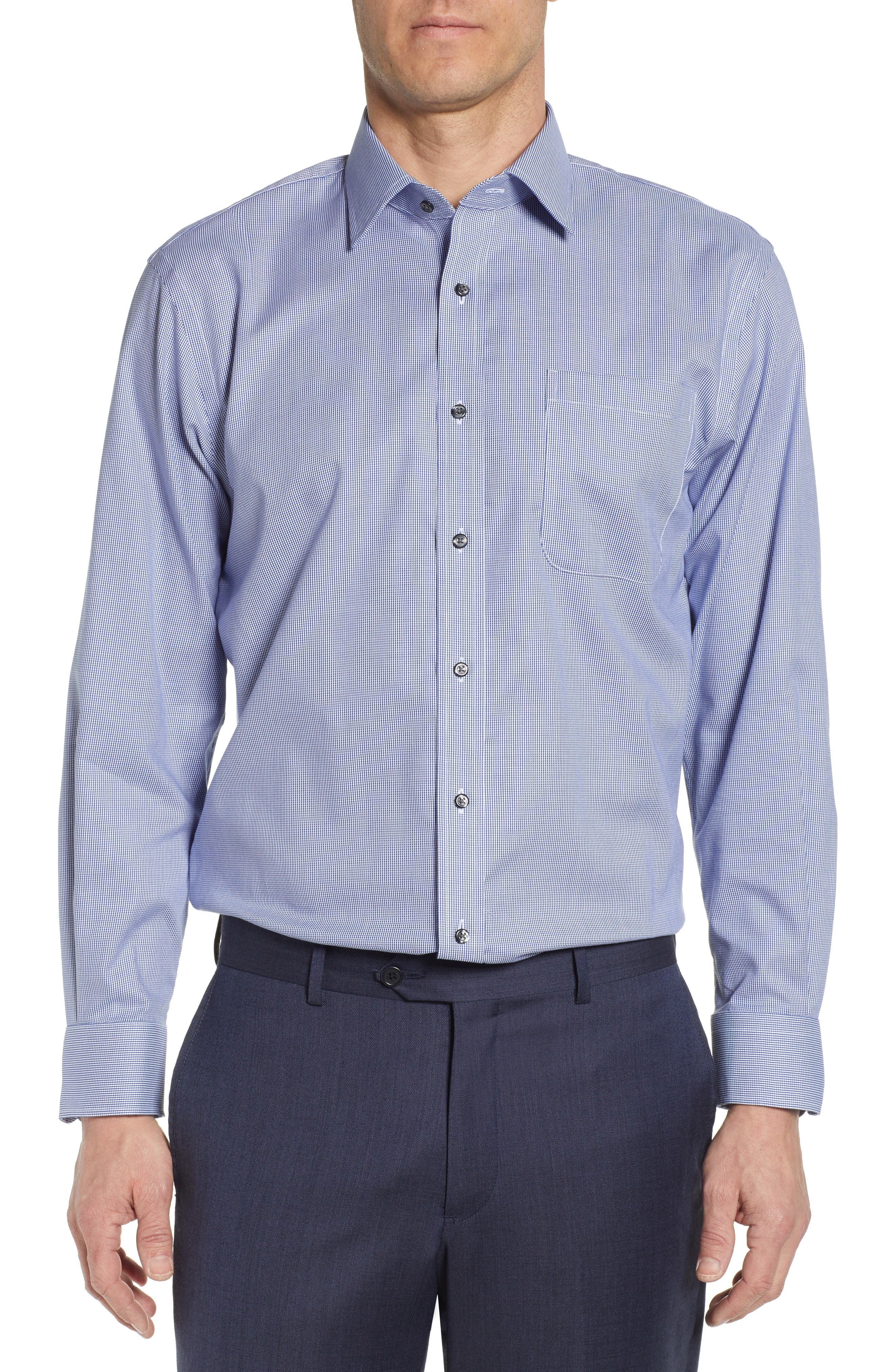 NORDSTROM MEN'S SHOP Traditional Fit Non-Iron Solid Dress Shirt, Main, color, NAVY DRESS