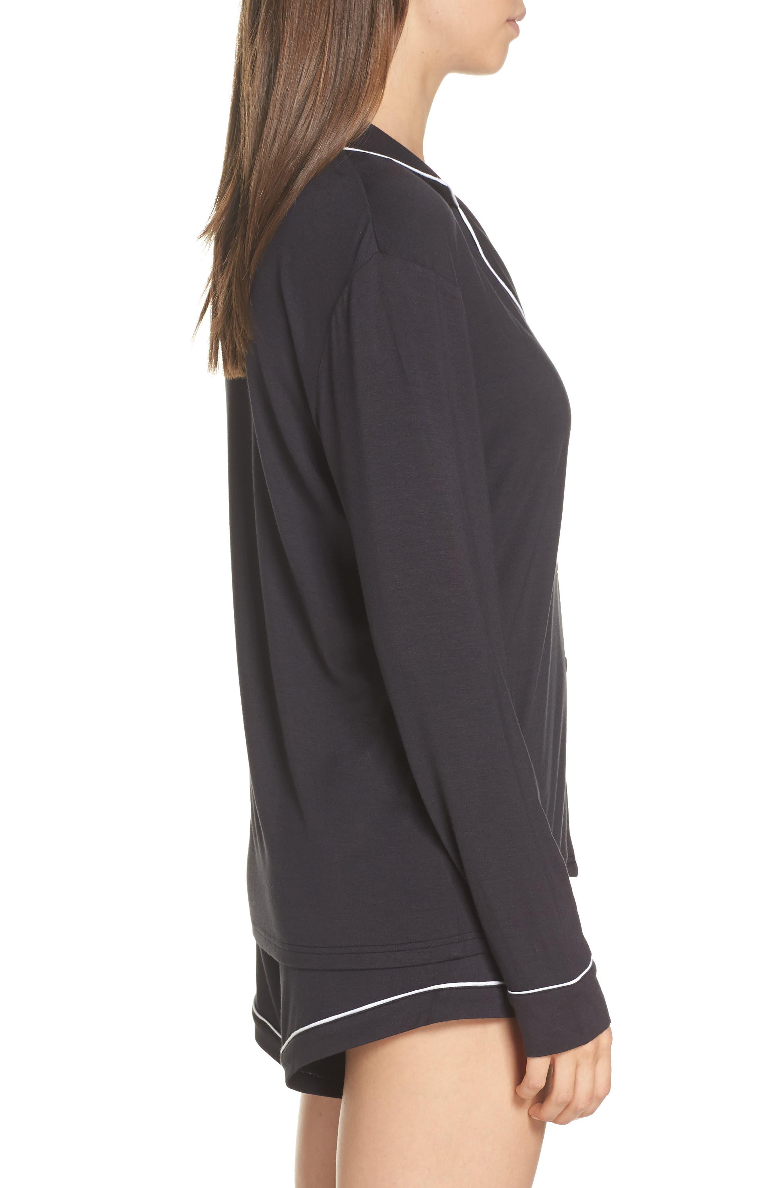 UGG<SUP>®</SUP>, Nya Short Pajamas, Alternate thumbnail 3, color, BLACK