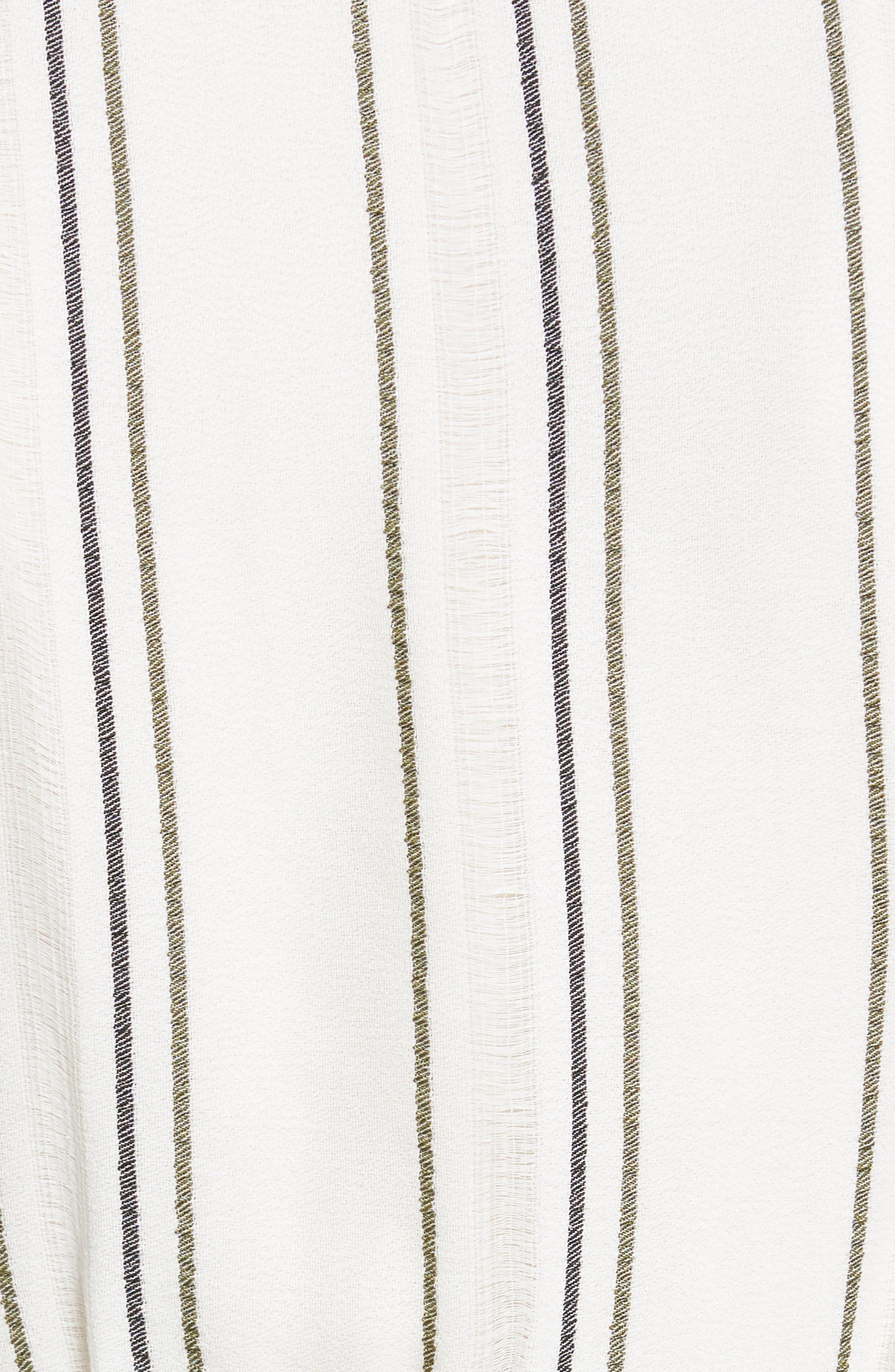 PROENZA SCHOULER, Tie Front Stripe Crepe Dress, Alternate thumbnail 6, color, WHITE