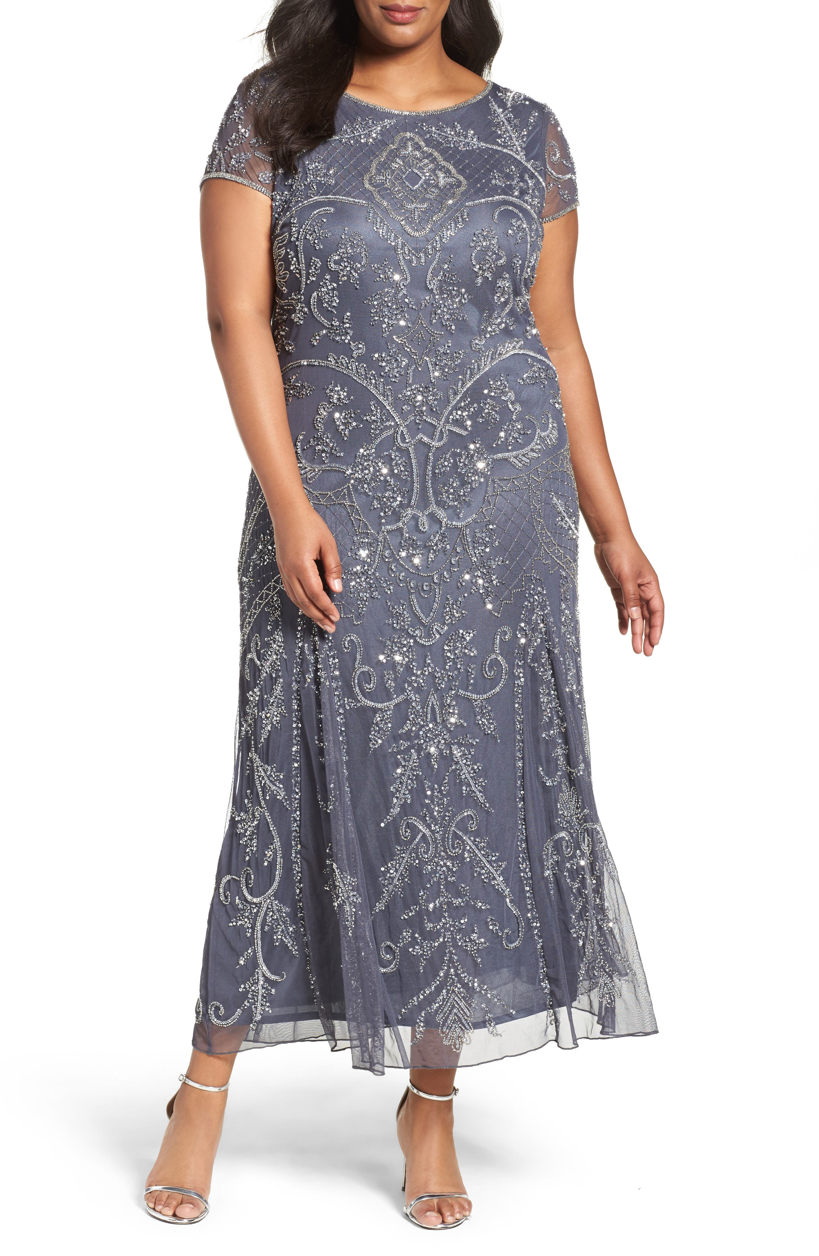 Downton Abbey Inspired Dresses Plus Size Womens Pisarro Nights Beaded Short Sleeve Column Gown Size 16W - Grey $248.00 AT vintagedancer.com