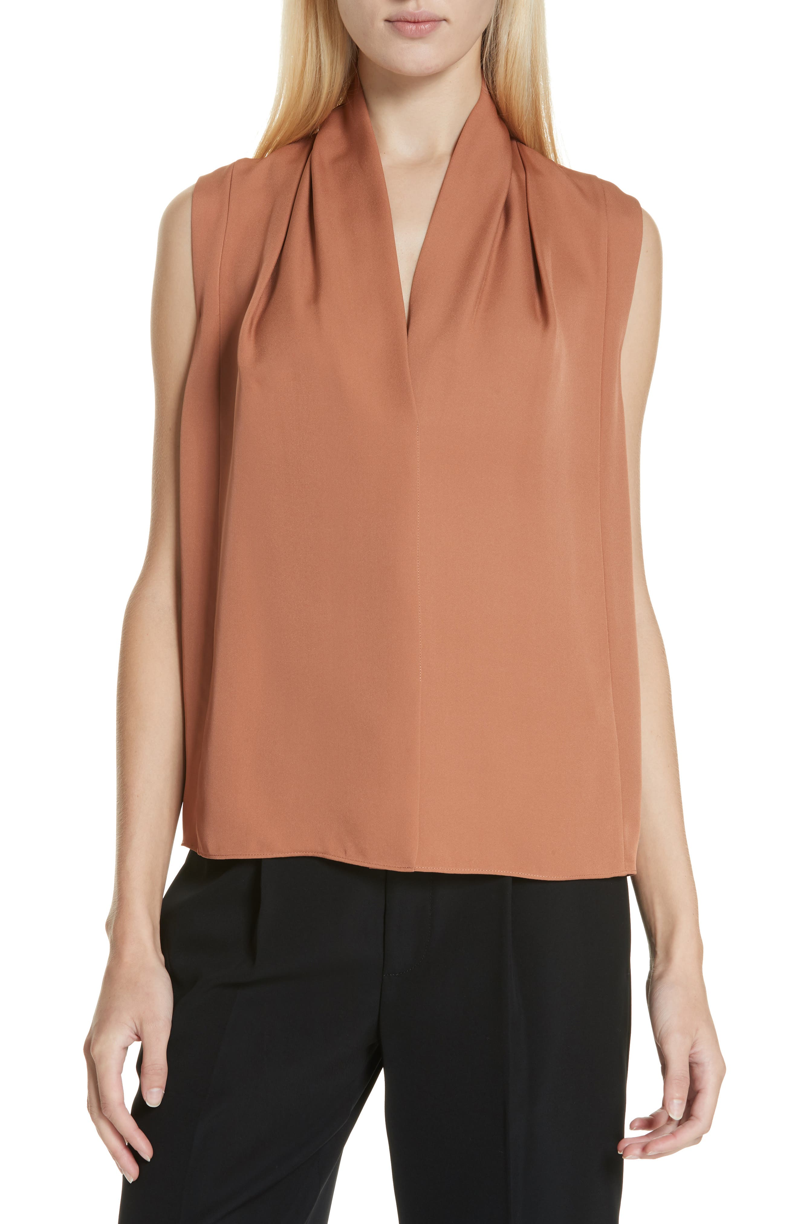 VINCE Sleeveless Silk Blouse, Main, color, PINK UMBER
